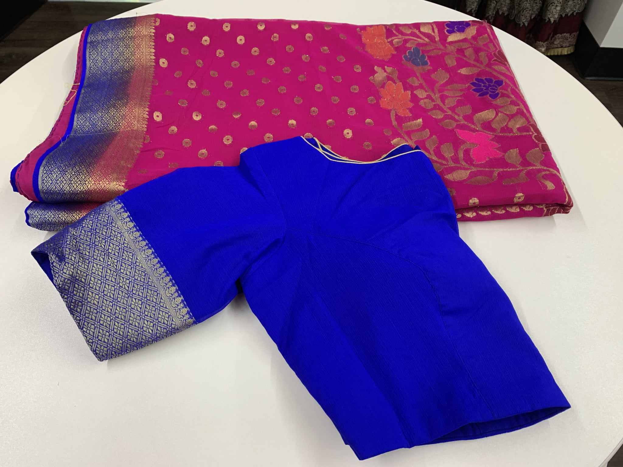 Pink and Blue Chiffon Saree