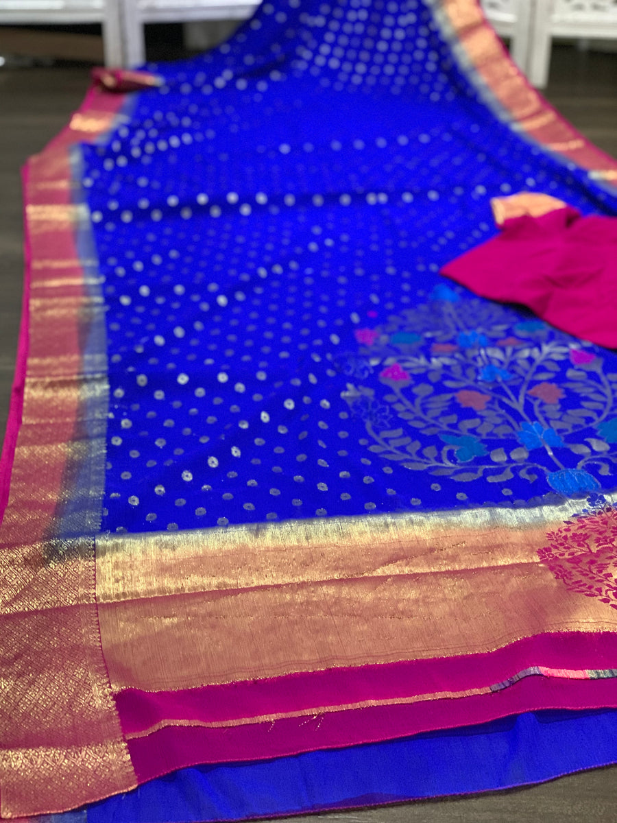 Blue and Pink Chiffon Saree