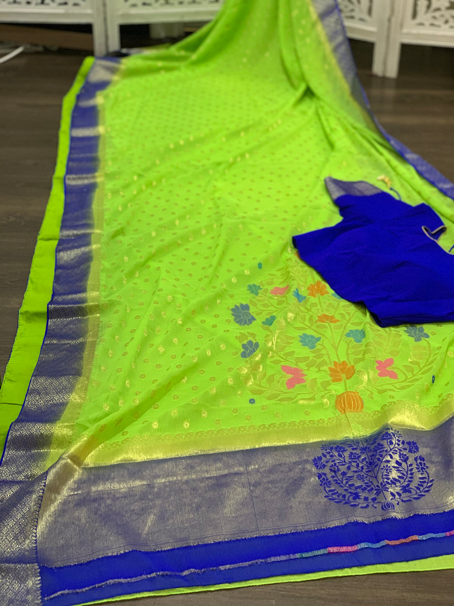 Green and Blue Chiffon Saree