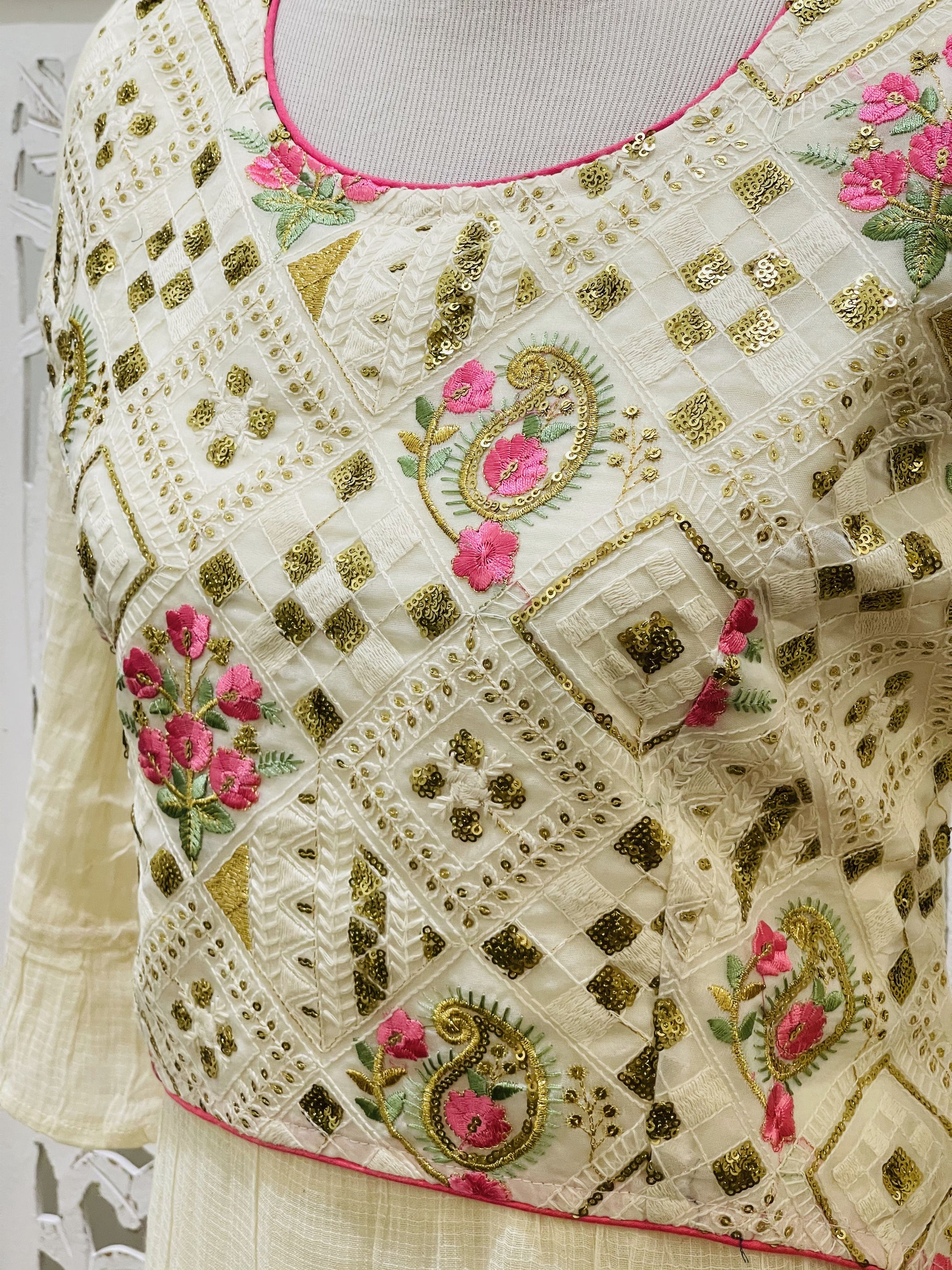 Cream Embroidered Kurti