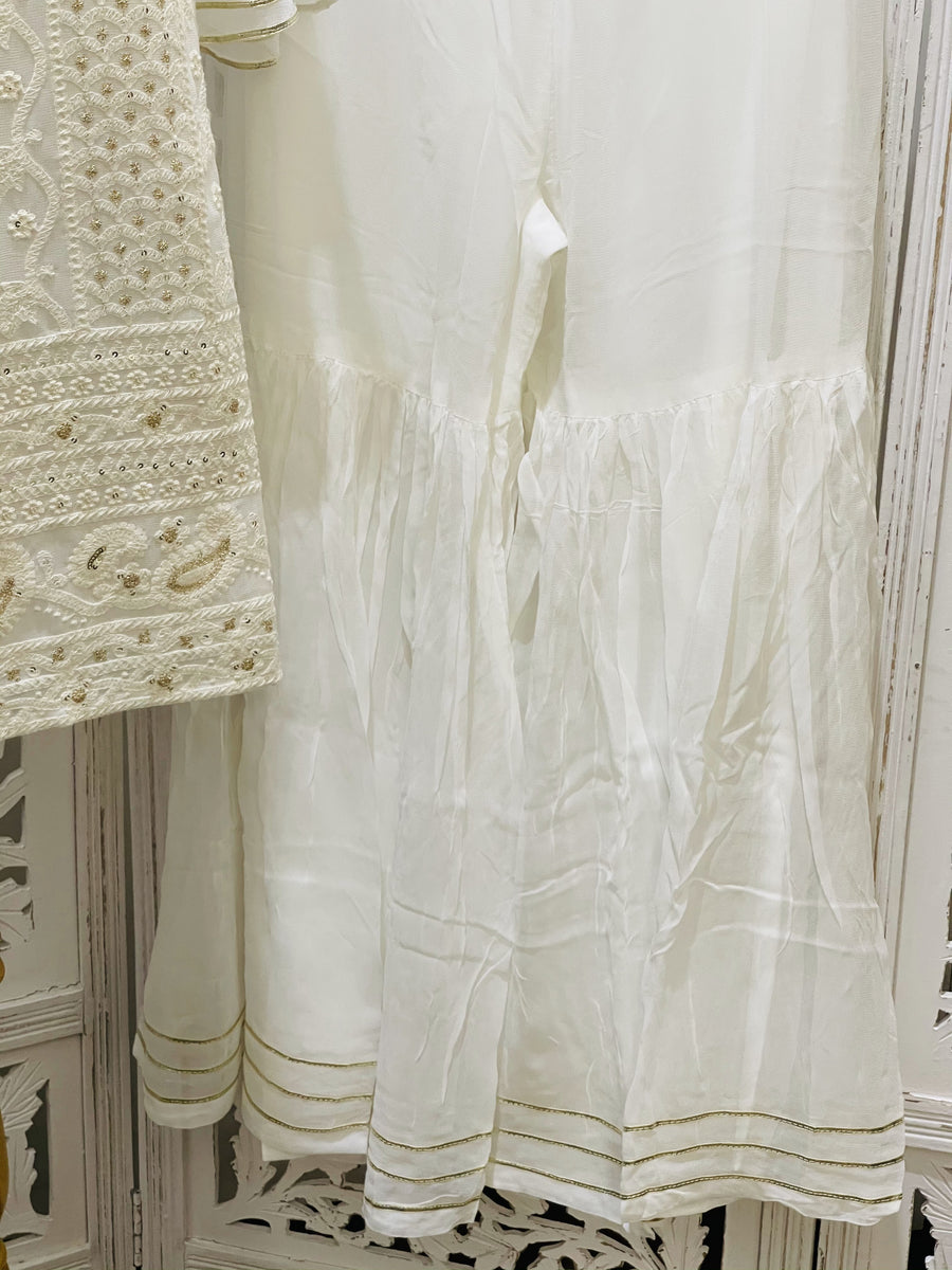 White and Cream Gharara/Sharara Suit