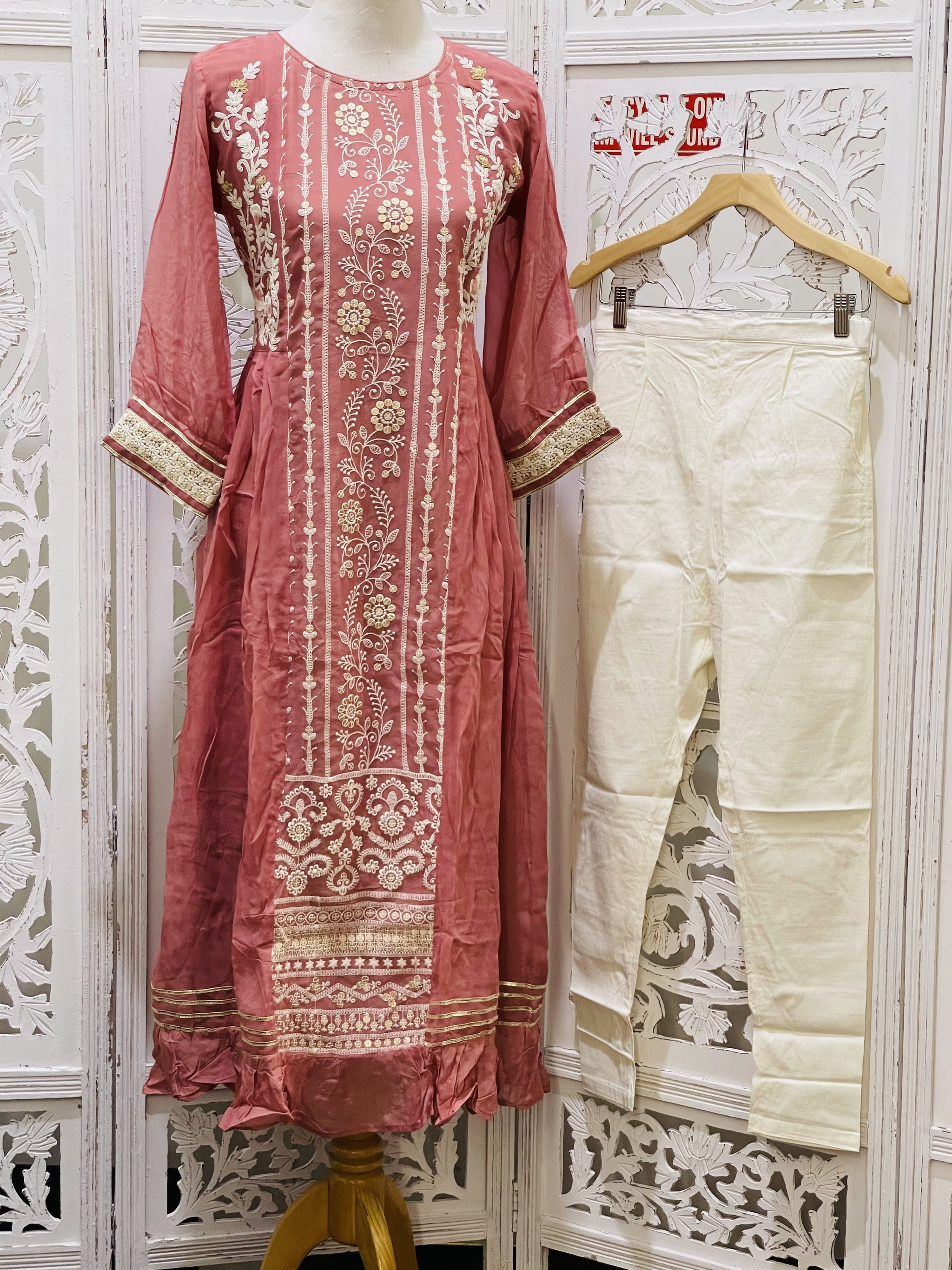 Pastel Pink and Cream Palazzo Suit - Sakkhi Style