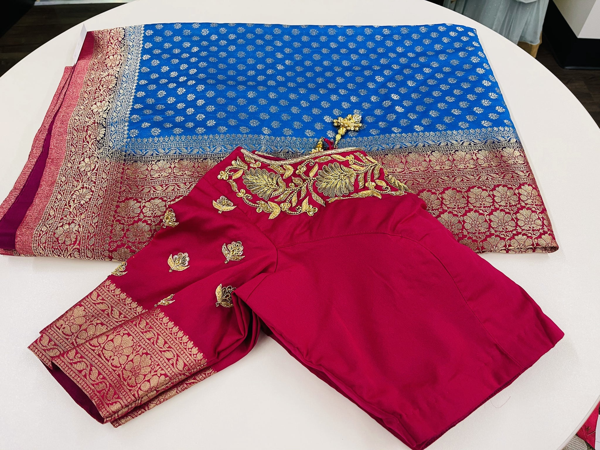 Blue and Pink Georgette Saree