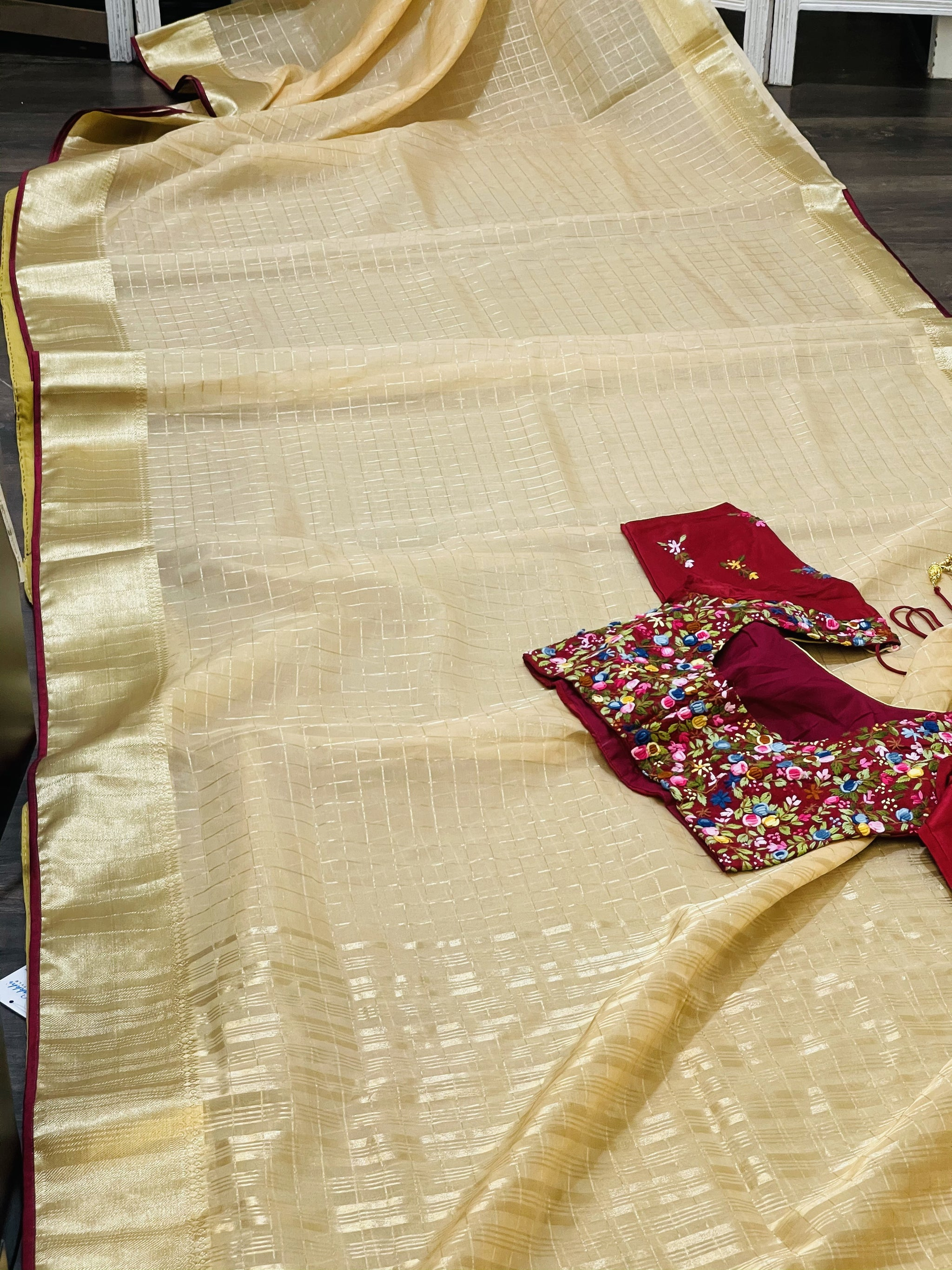 Peach and Maroon Organza Saree - Sakkhi Style