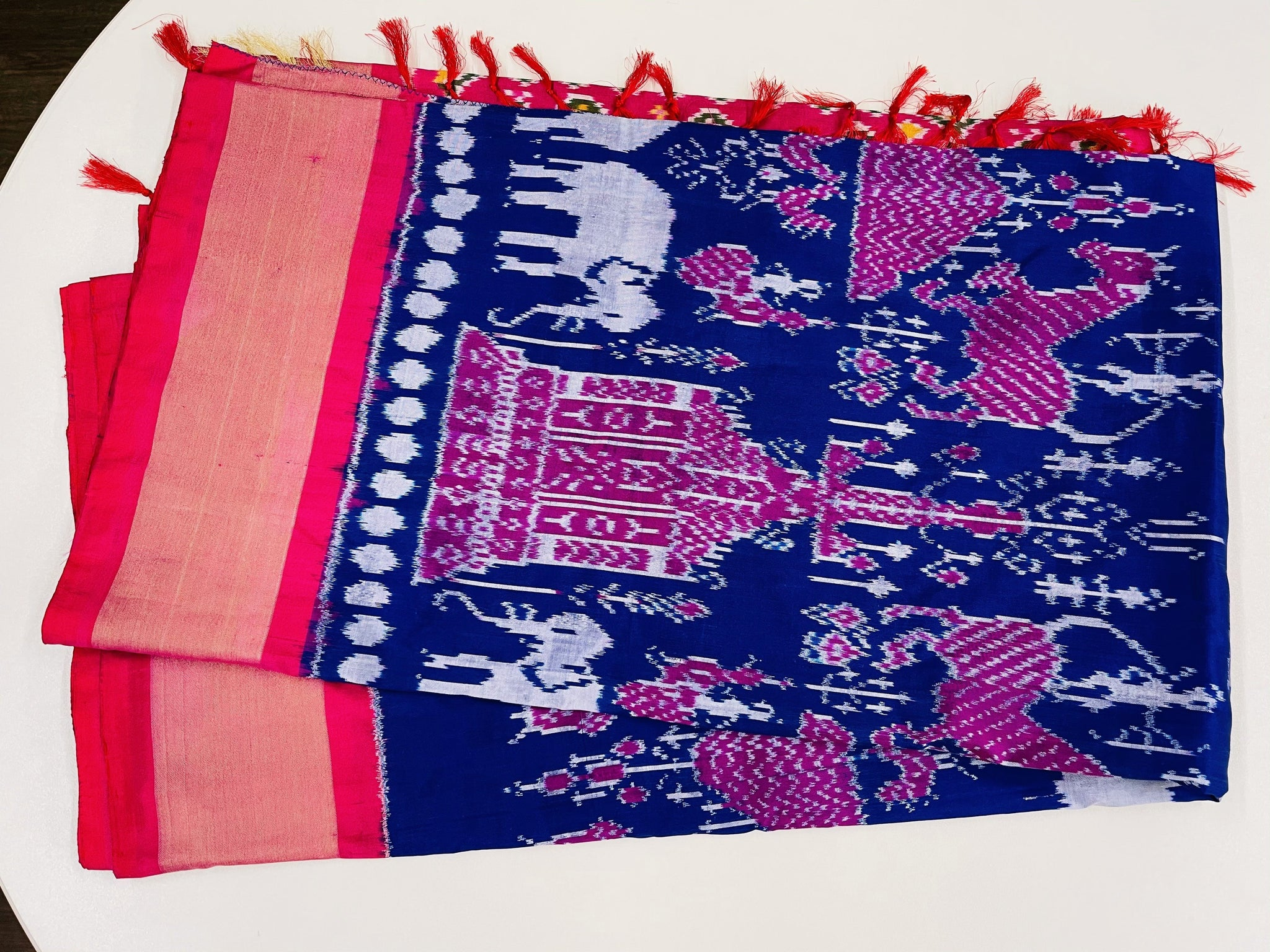 Blue and Pink Ikkat Pochampally Silk - Sakkhi Style