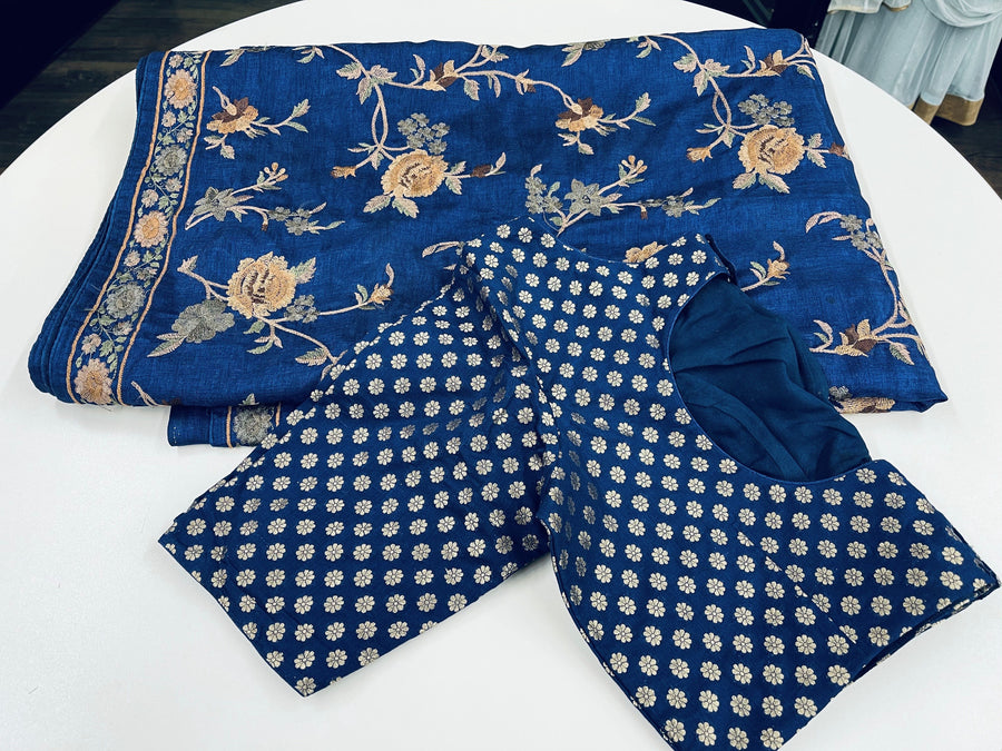 Navy Blue Embroidered Tussar Silk Saree