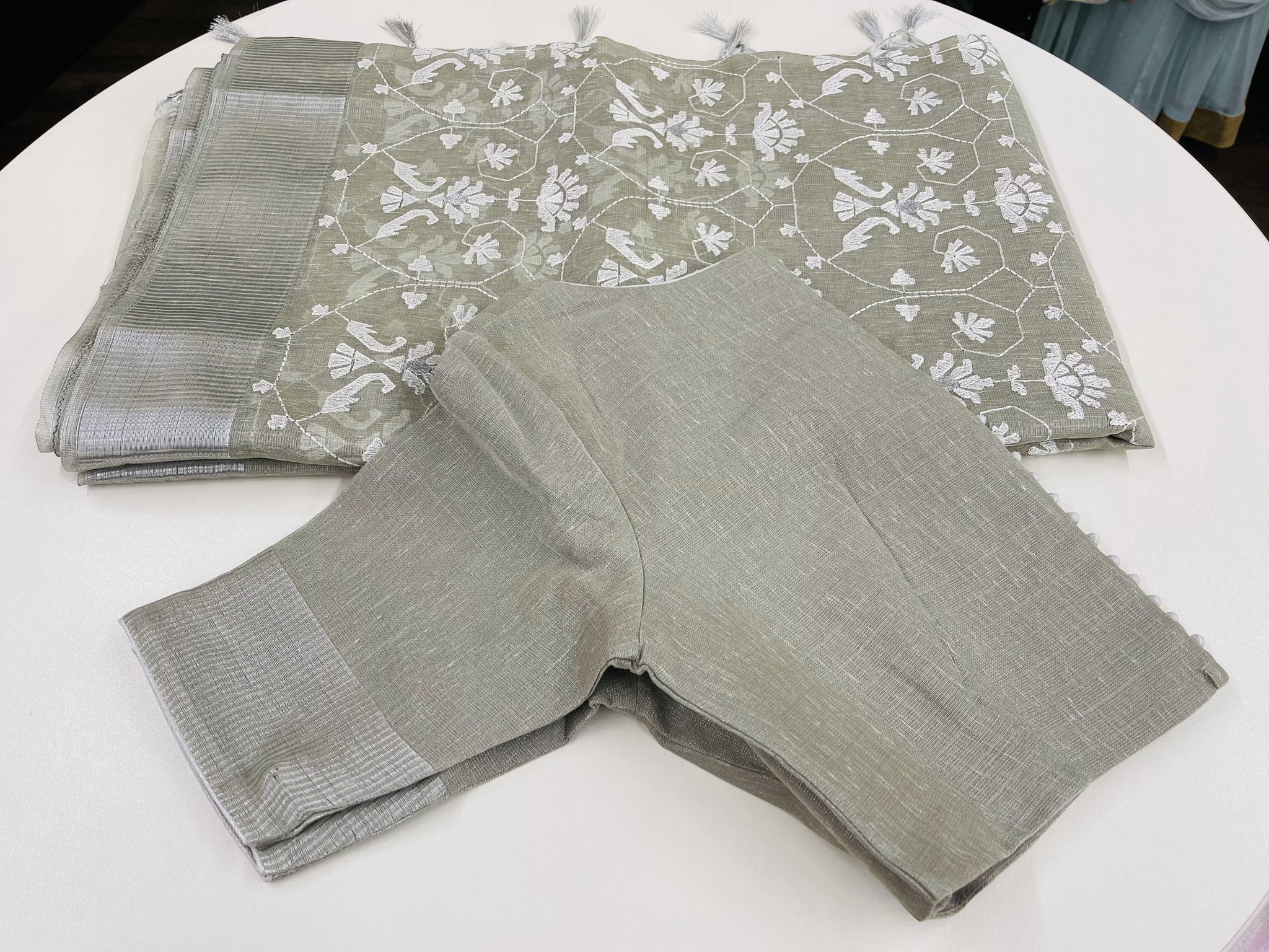 Grey and Silver Linen Tissue Saree