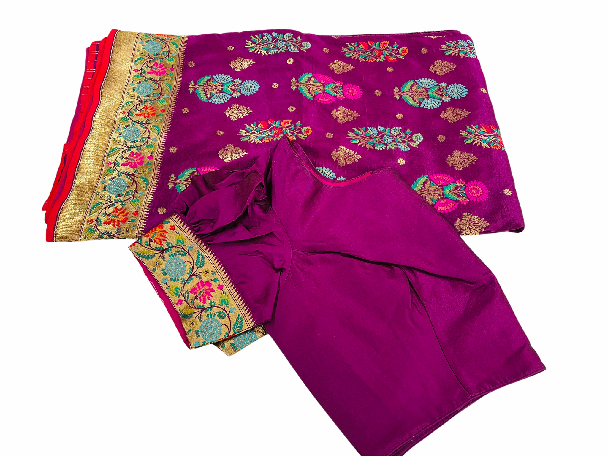 Burgundy and Gold Banaras Silk Saree