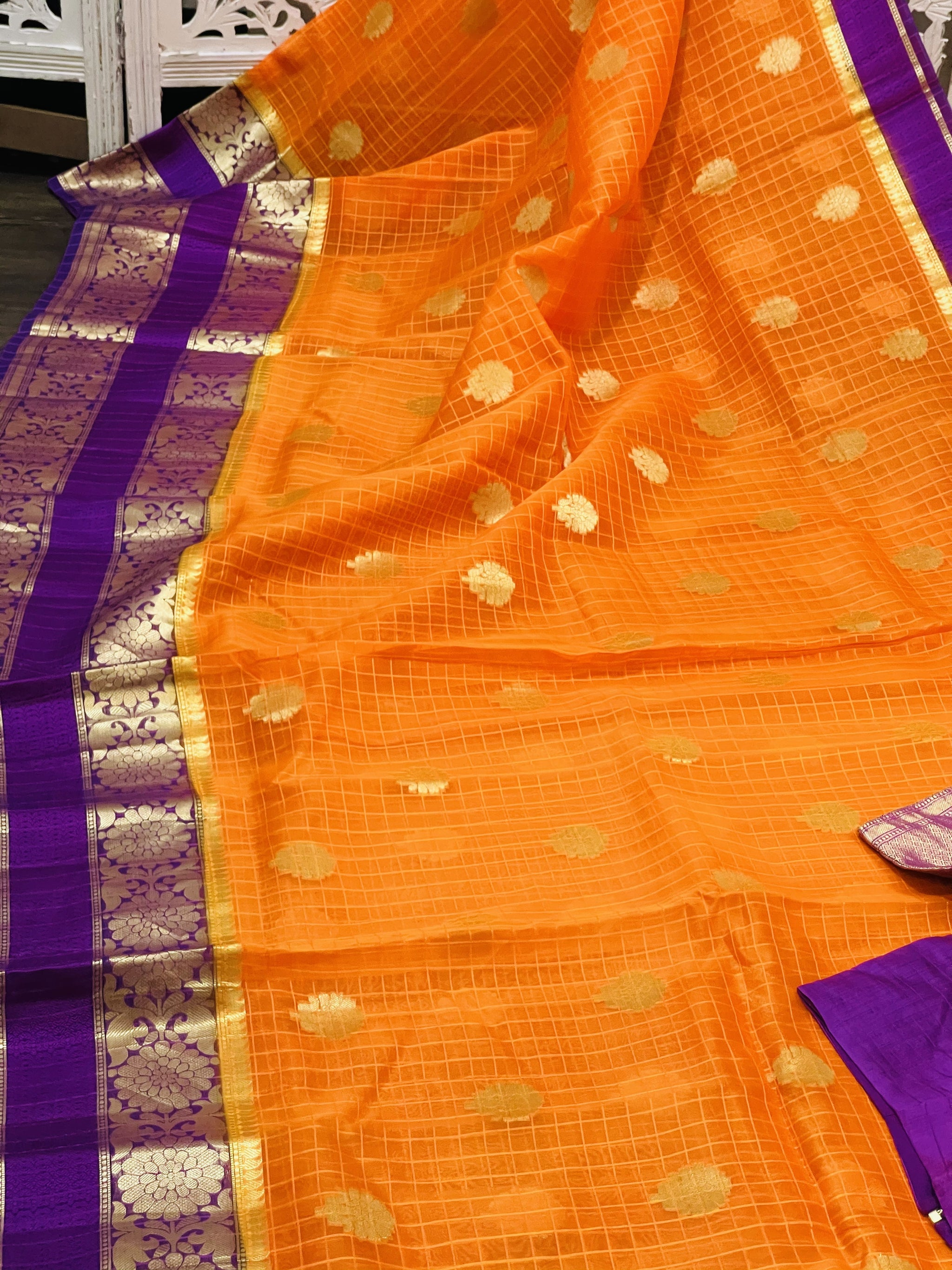 Orange and Purple Organza Silk Saree