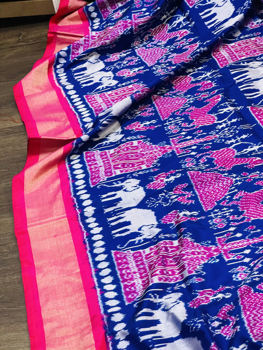 Blue and Pink Ikkat Pochampally Silk
