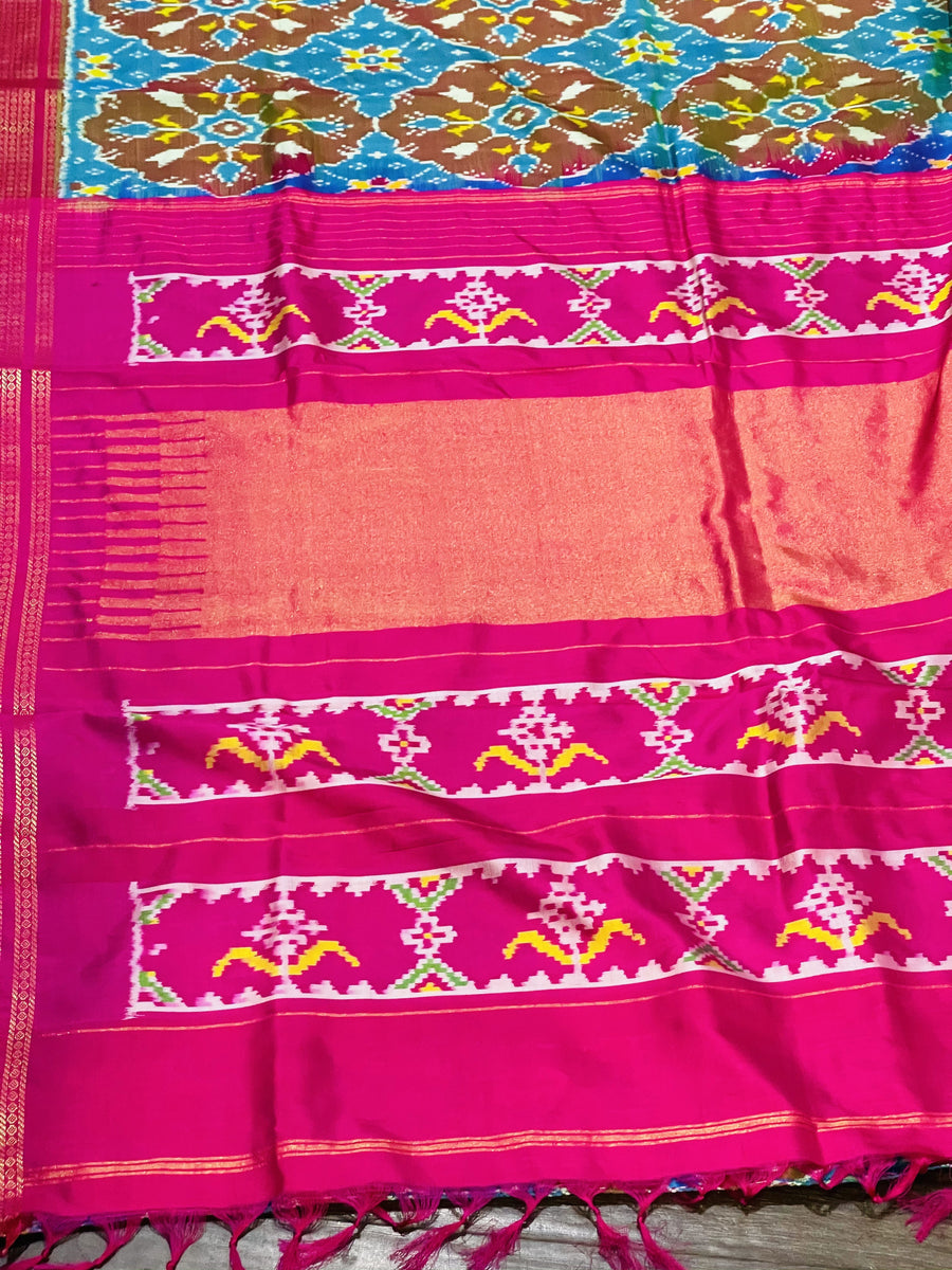 Blue and Pink Ikkat Pochampally Silk Saree - Sakkhi Style