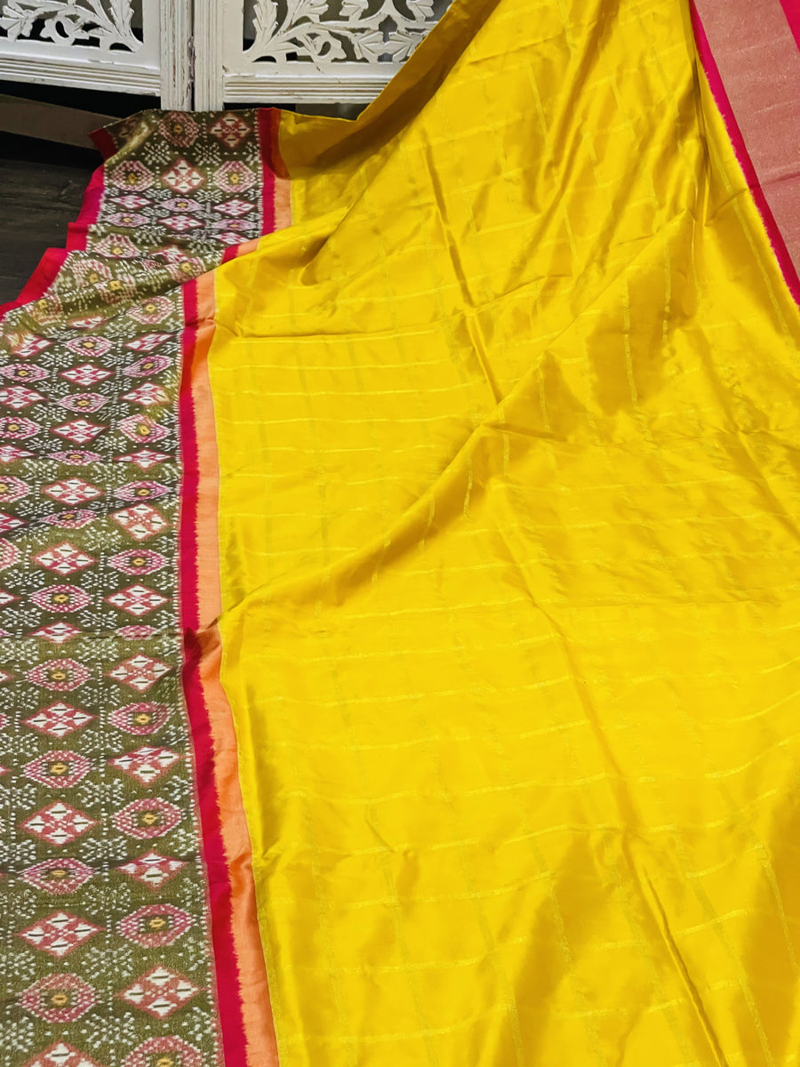 Yellow and Pink Ikkat Pochampally Silk - Sakkhi Style