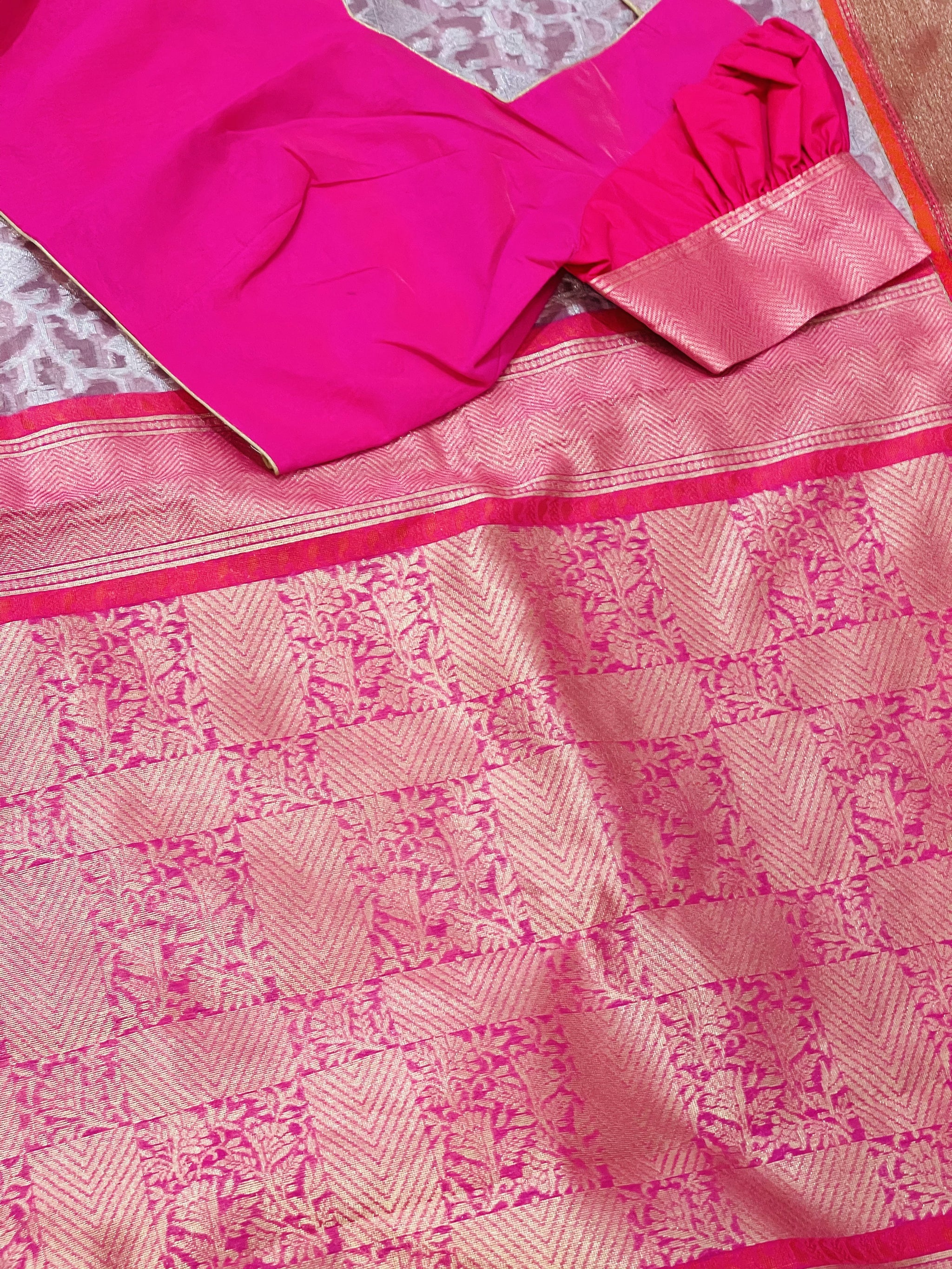 Pink and Silver Banaras Kora Saree