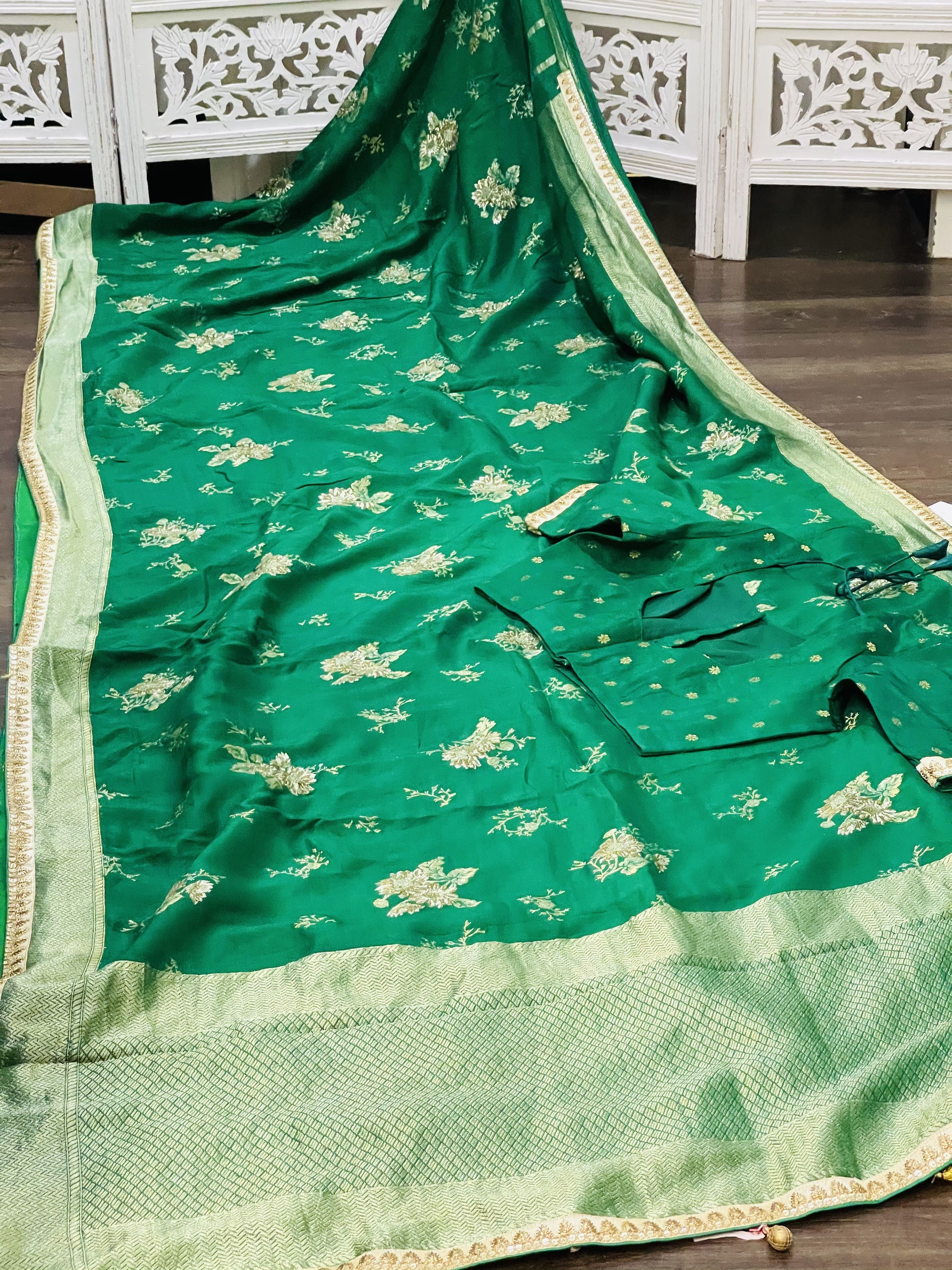 Green Munga Silk Saree