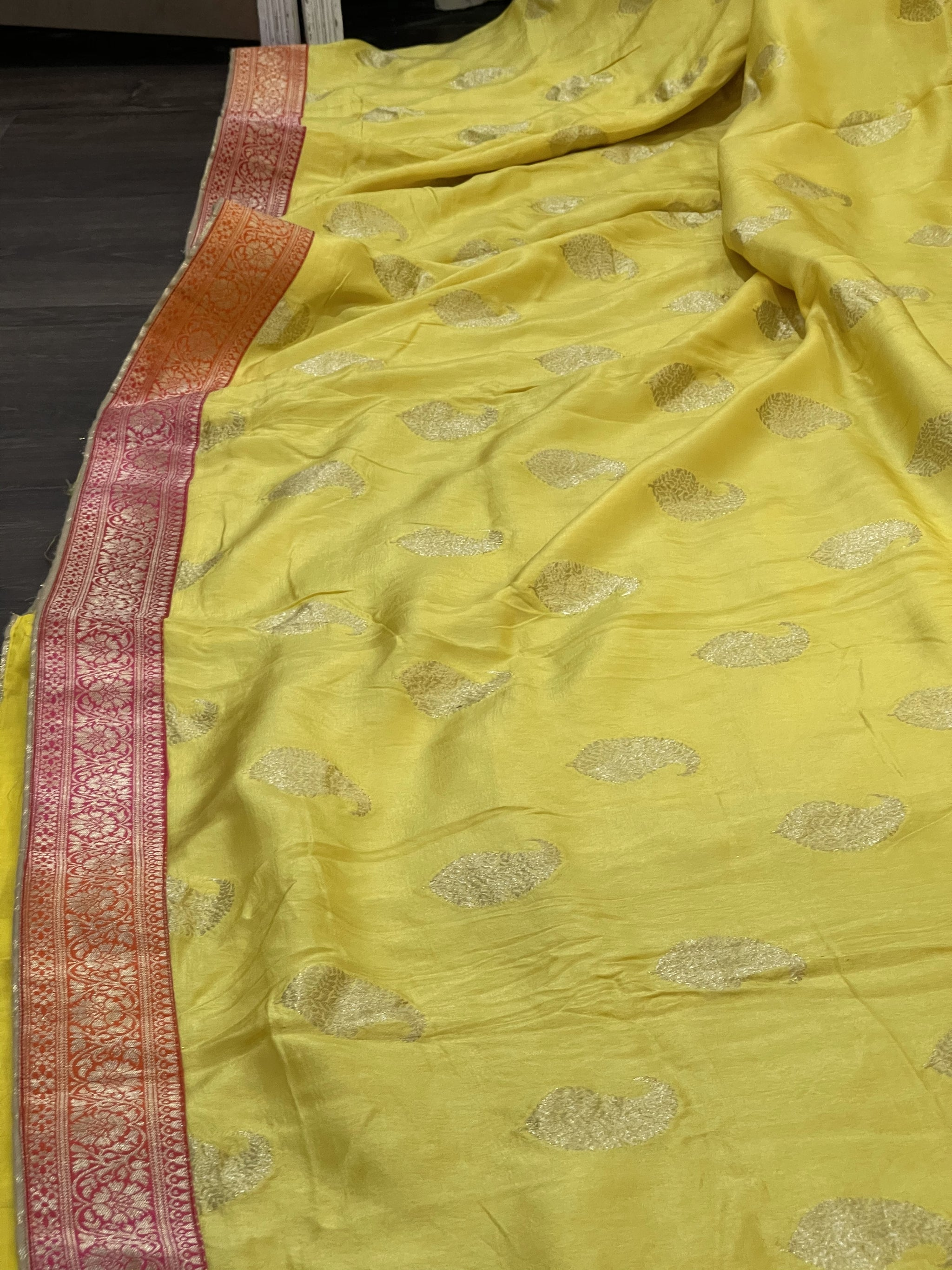 Yellow and Orange/Pink Munga Silk Saree