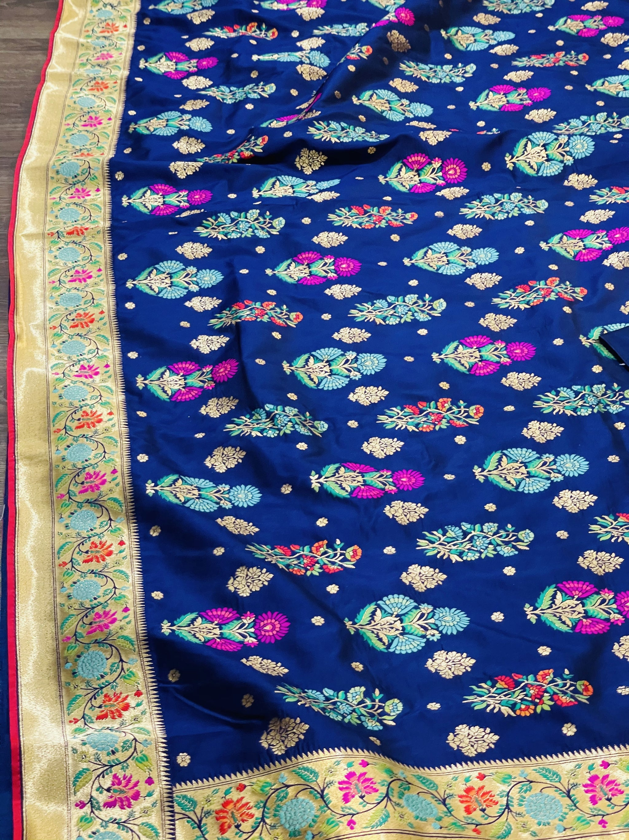 Navy Blue and Gold Banaras Silk Saree