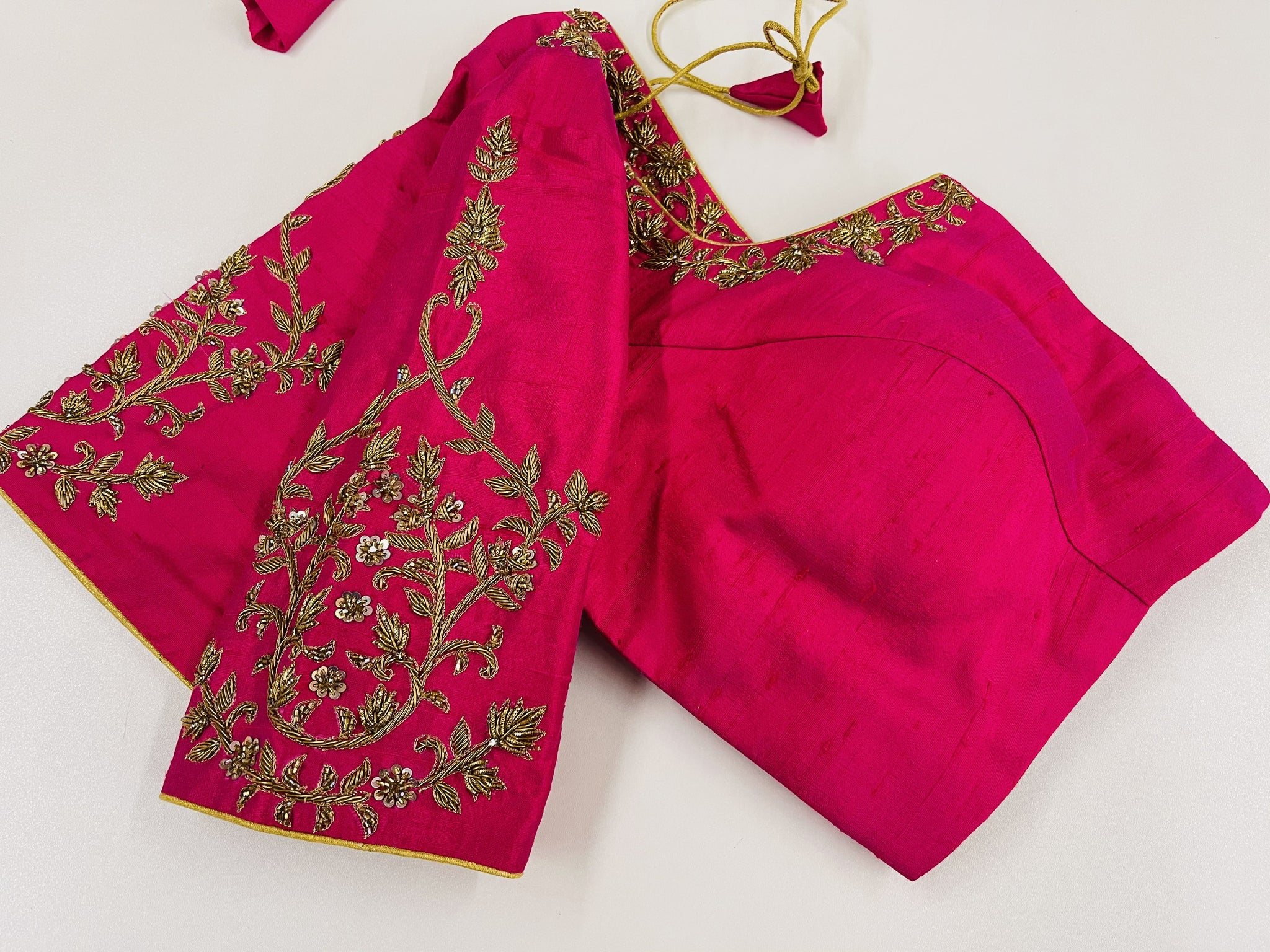 Pink Embroidered Customized Blouse - Sakkhi Style