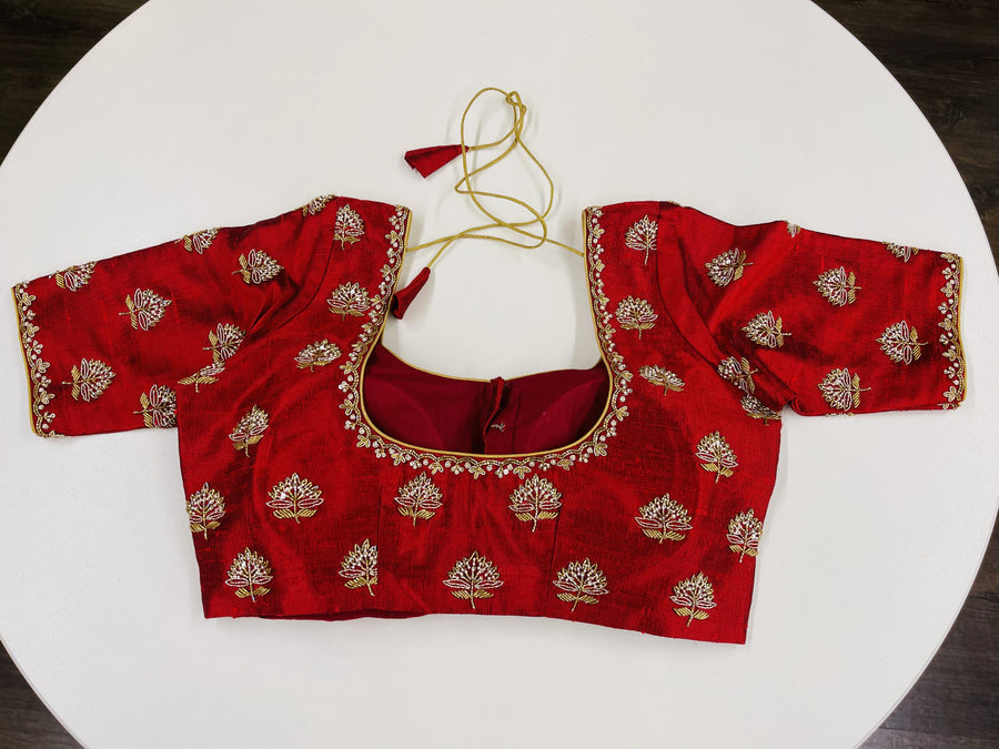 Maroon Embroidered Customized Blouse