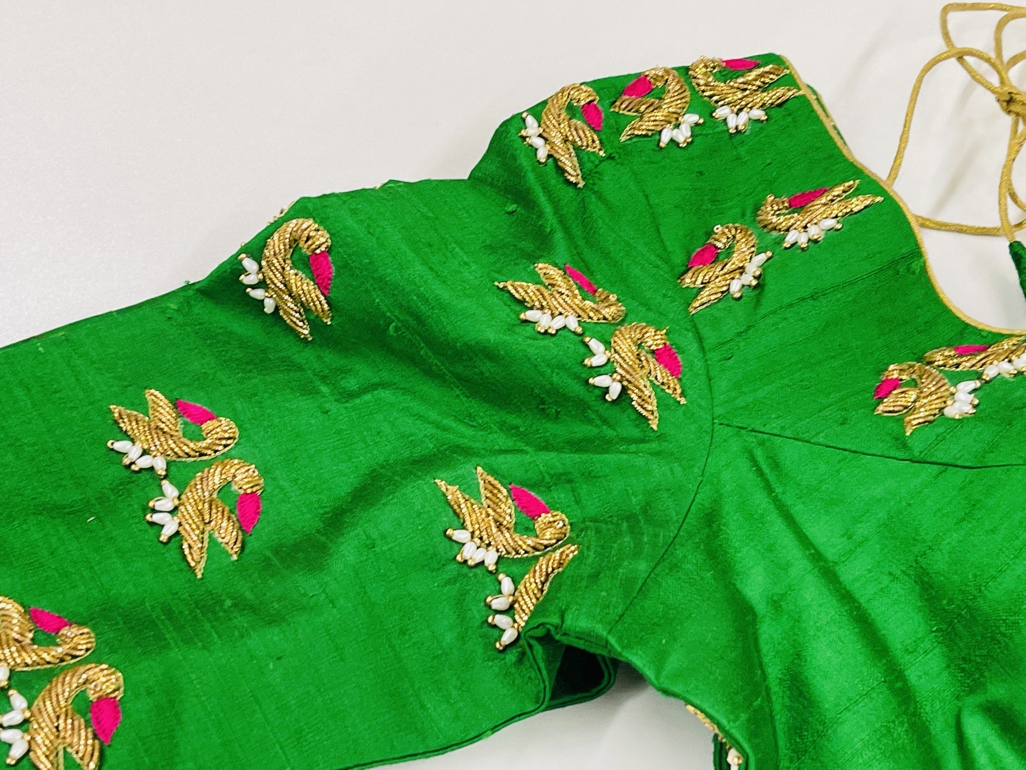Green Embroidered Customized Blouse - Sakkhi Style