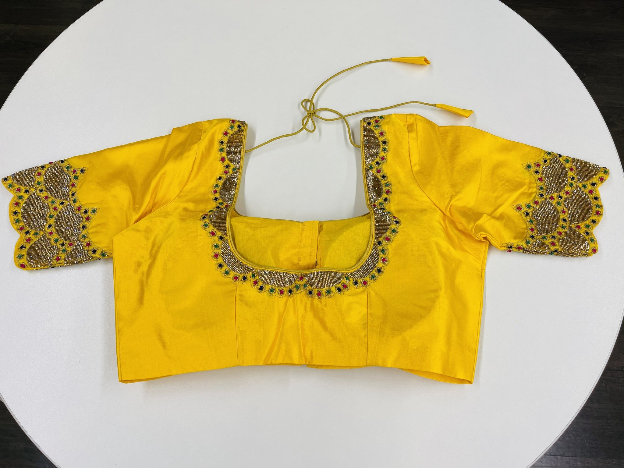 Yellow Embroidered Customized Blouse