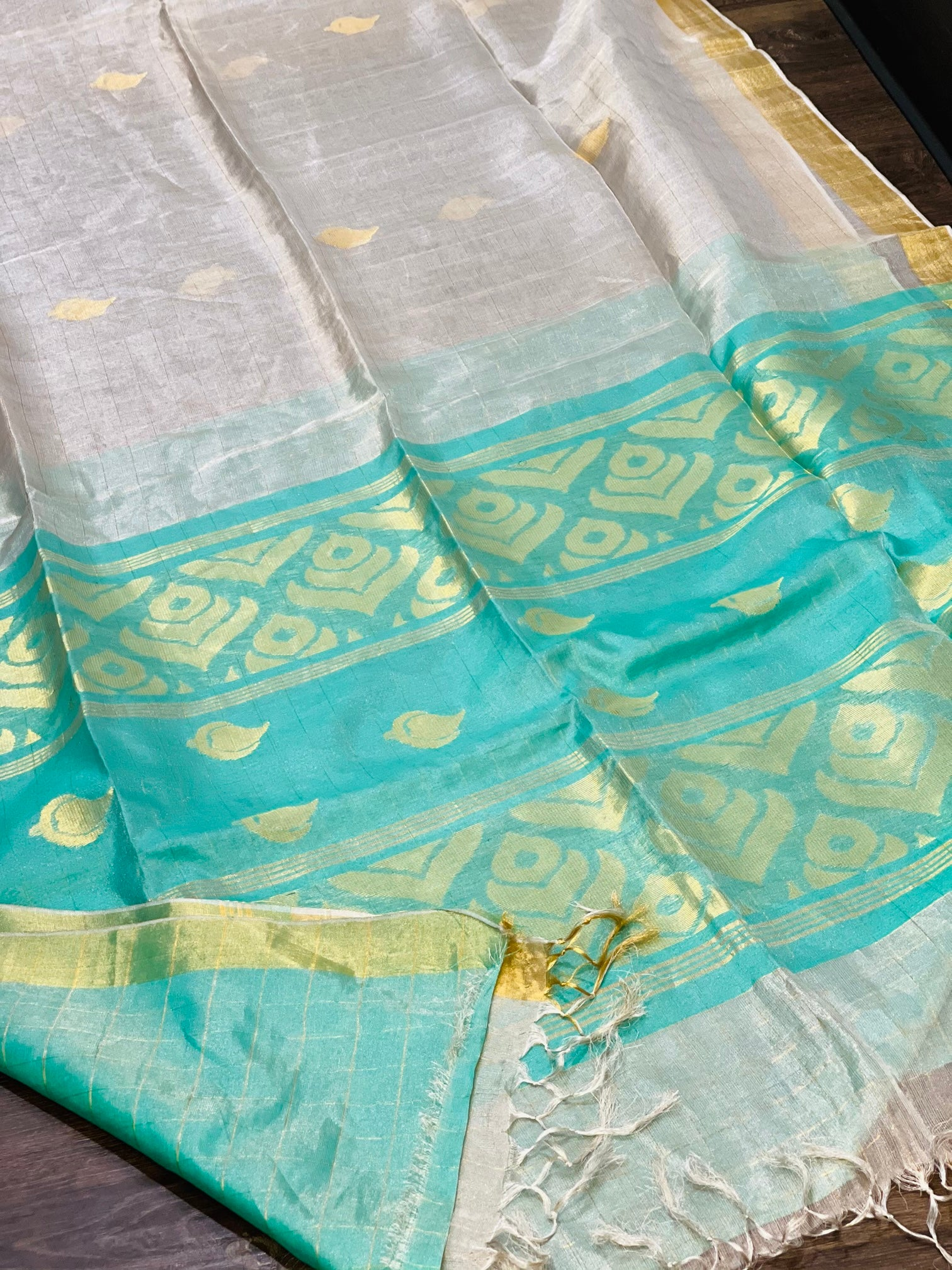 Silver and Blue Linen Tissue Saree - Sakkhi Style