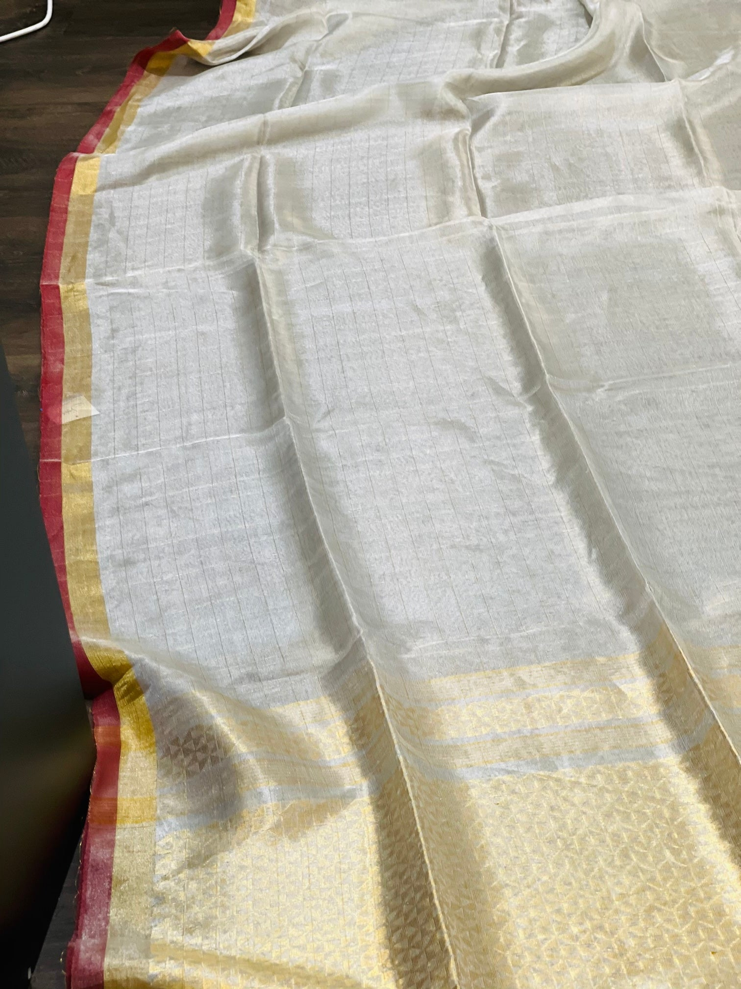 Silver and Rust Linen Tissue Saree - Sakkhi Style
