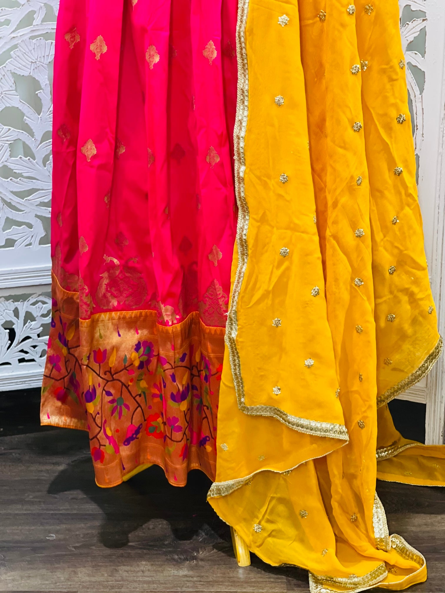 Yellow and Pink Paithani Lehenga Choli - Sakkhi Style