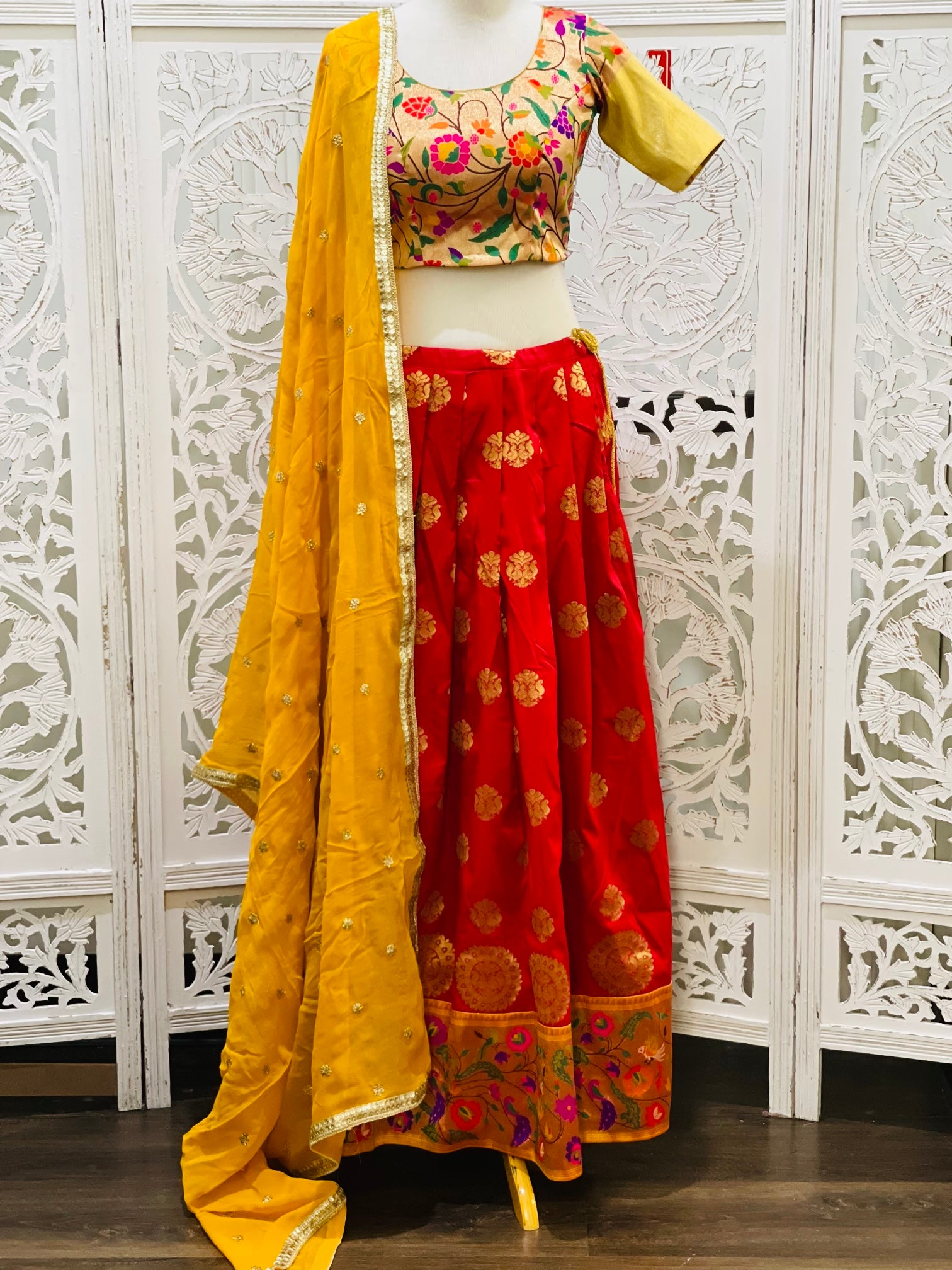 Yellow and Maroon Paithani Lehenga Choli - Sakkhi Style