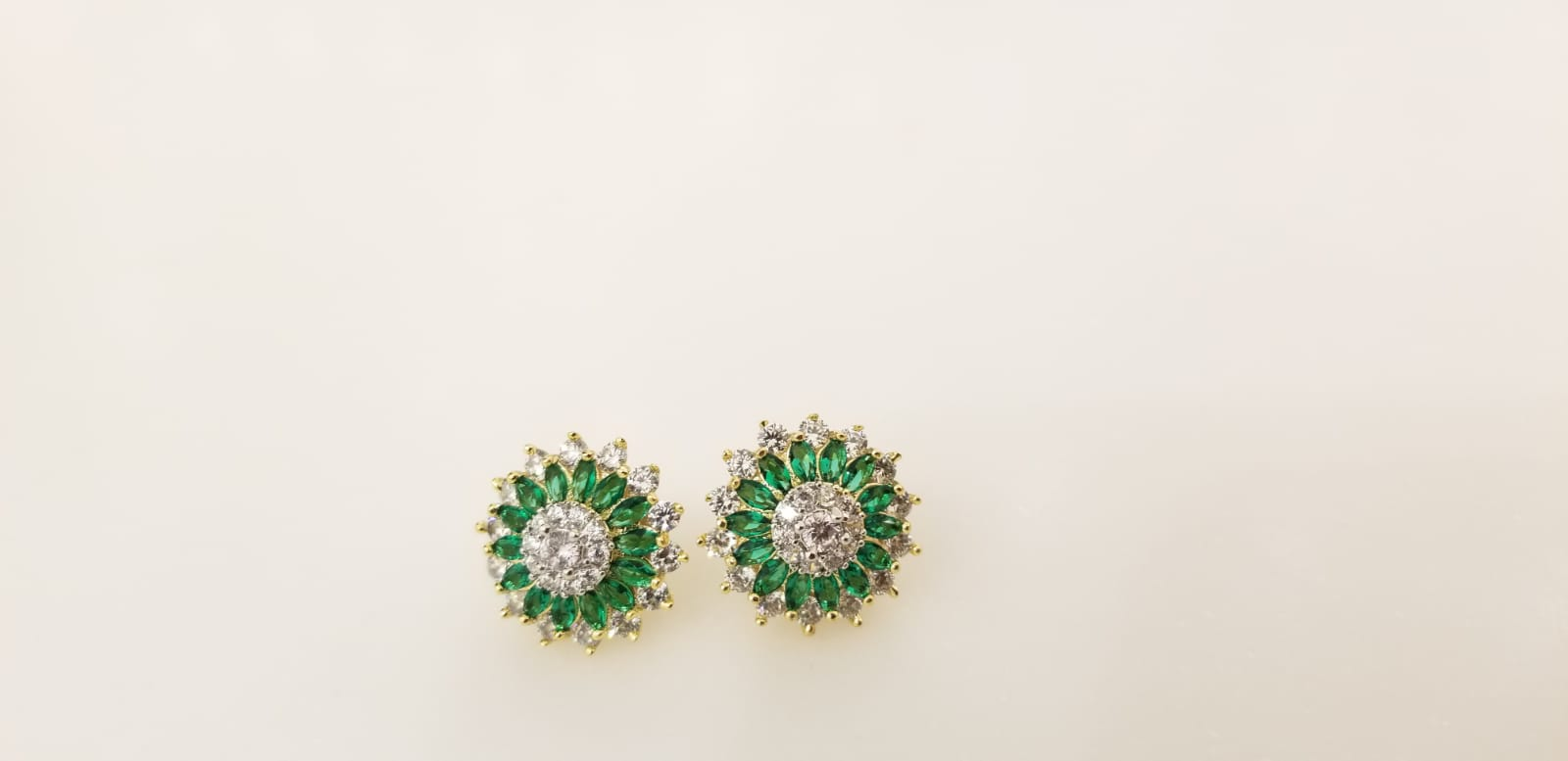 Stud Earrings With Green Stones and American Diamonds