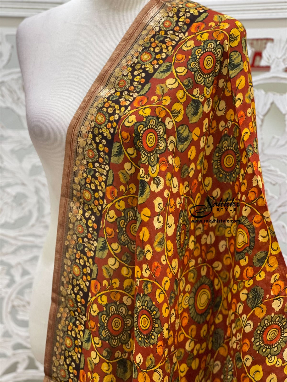 Orange/Brown Kalamkari Dupatta