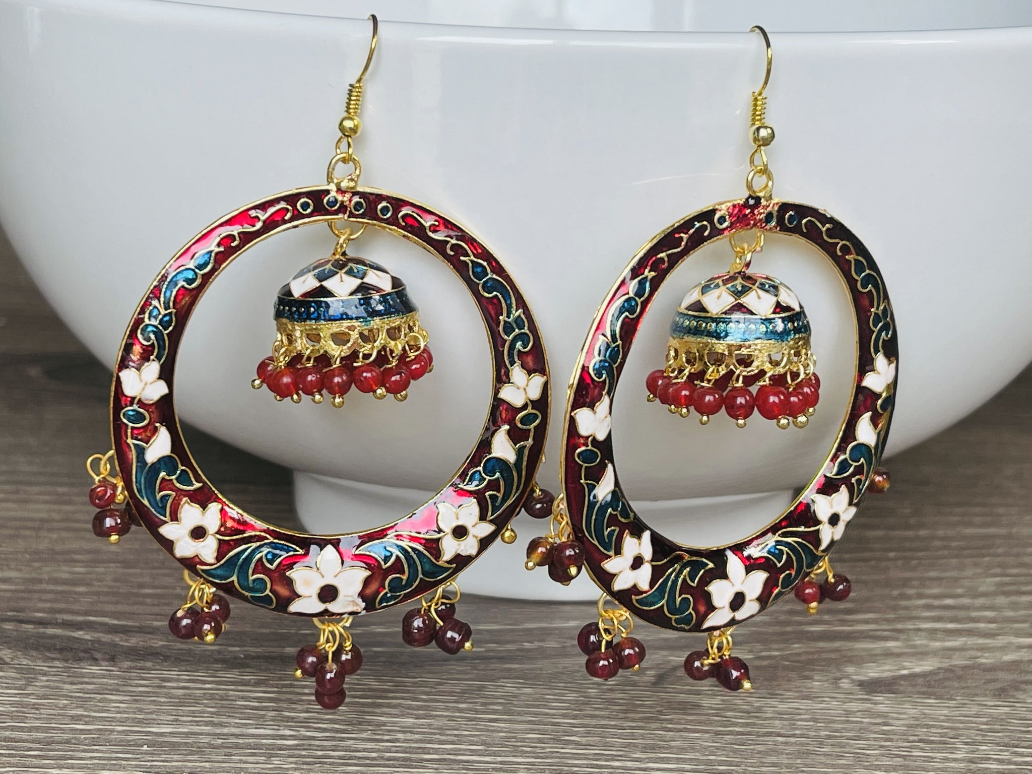 Maroon White and Blue Meenakari Chandbali Jhumka Earrings