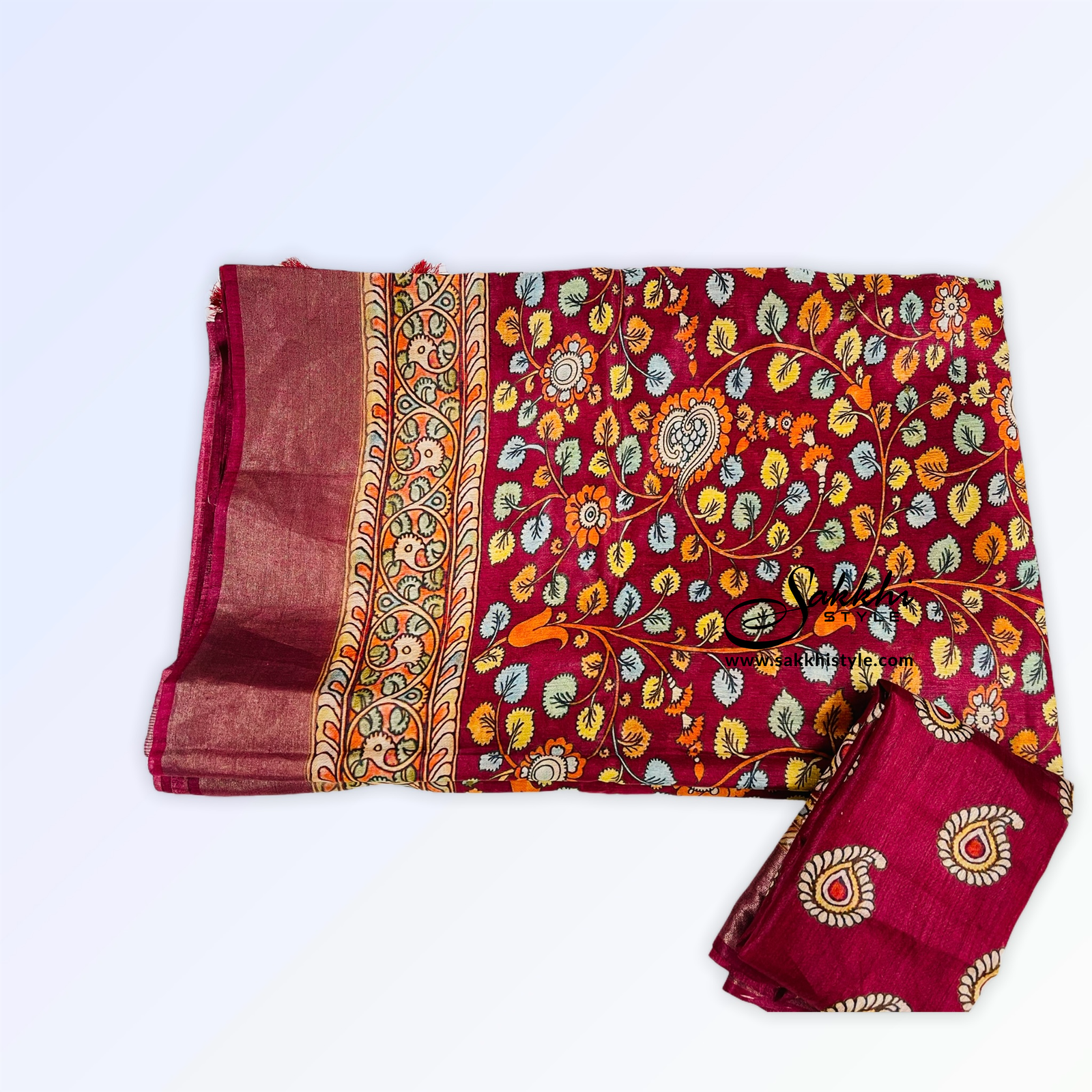 Burgundy Tussar Silk Saree