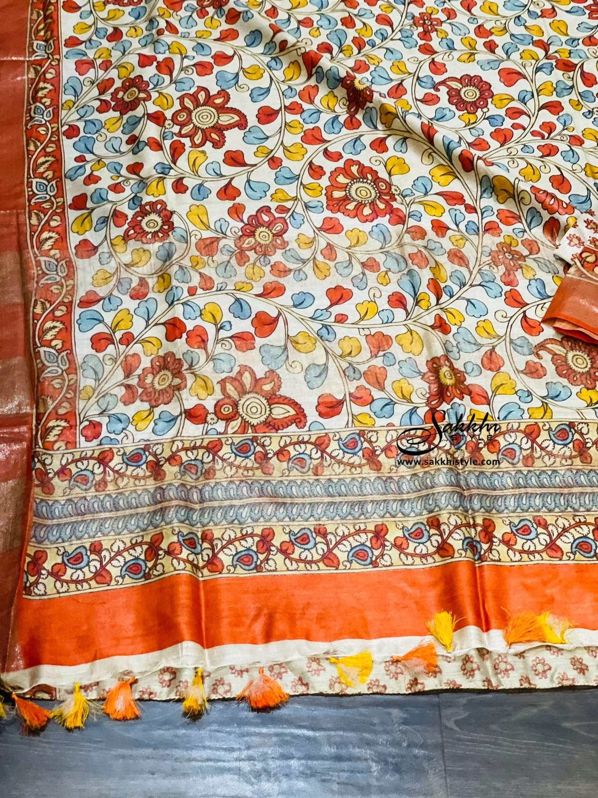 Cream Tussar Silk Saree