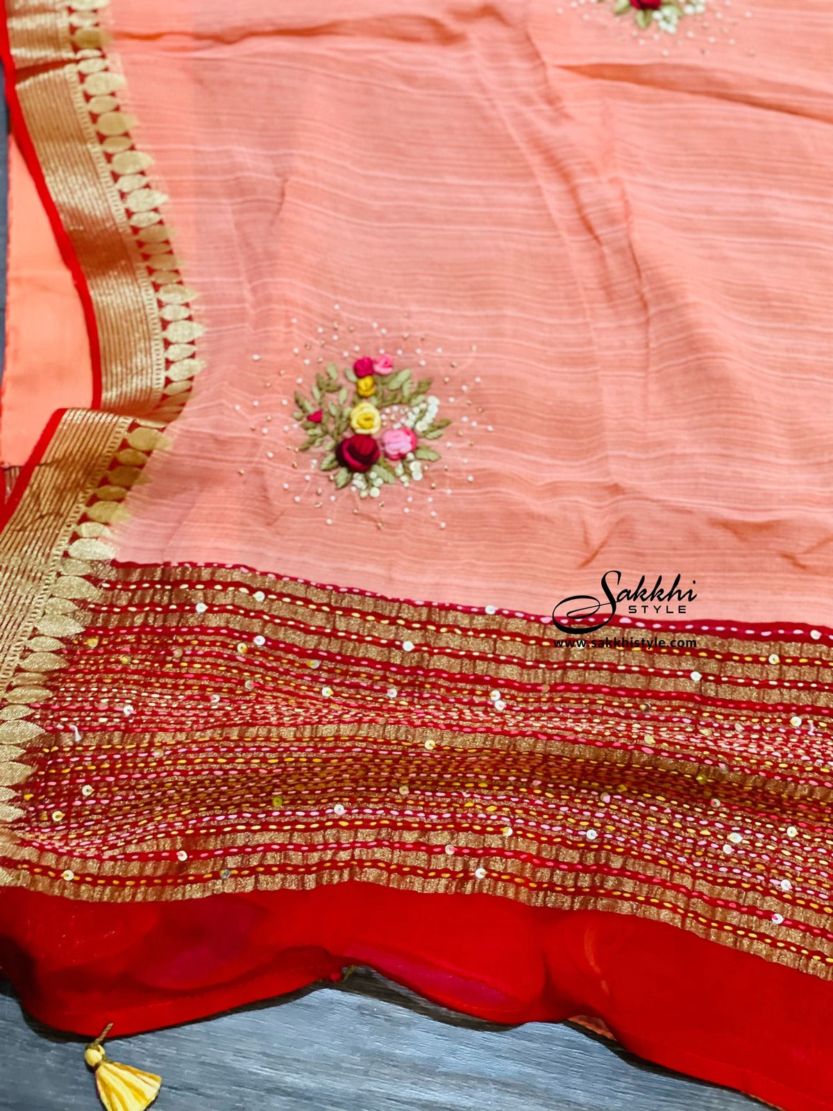 Peach and Red Georgette Saree