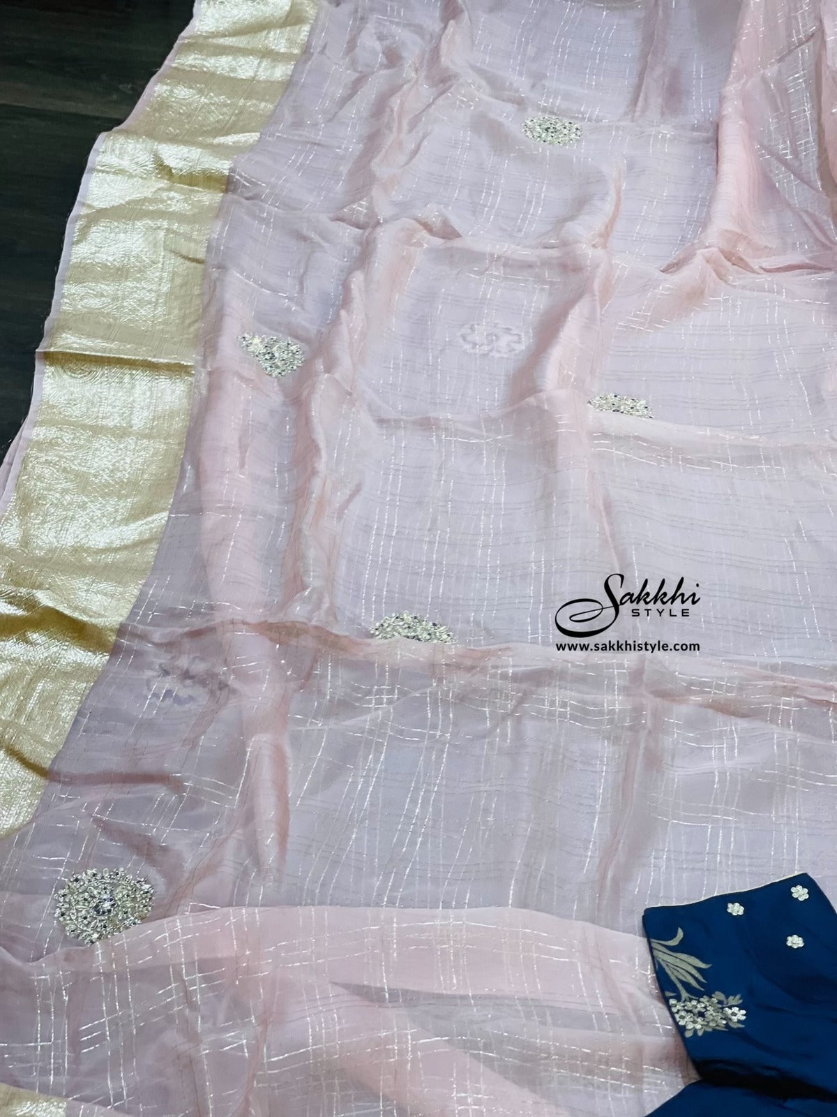 Pastel Pink and Blue Organza Silk Saree