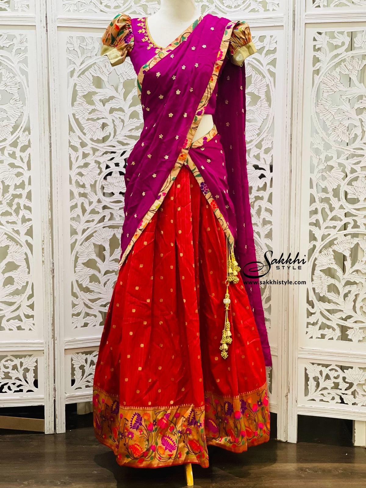 Magenta Pink and Red Paithani Lehenga Choli