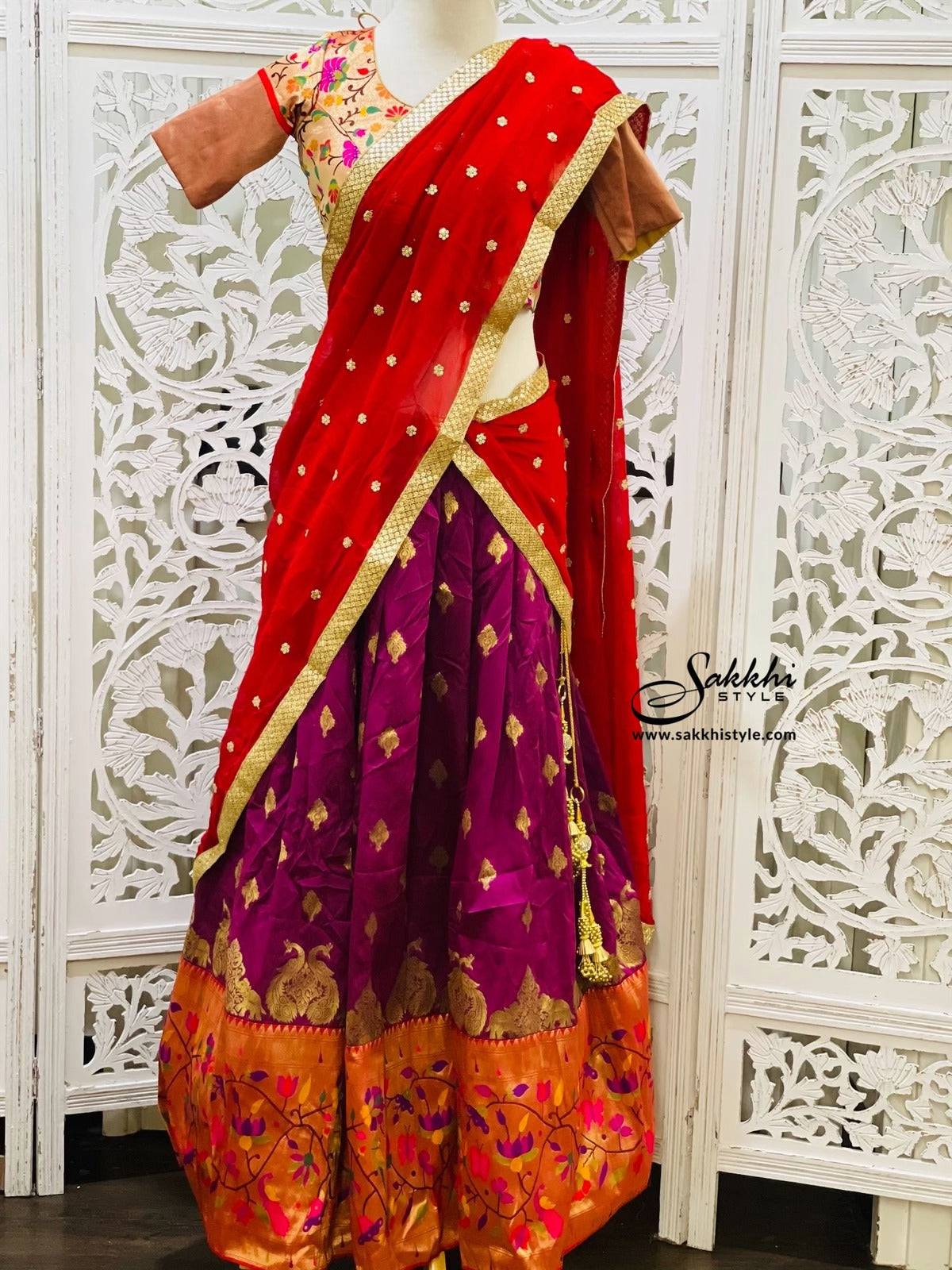 Red and Purple Paithani Lehenga Choli