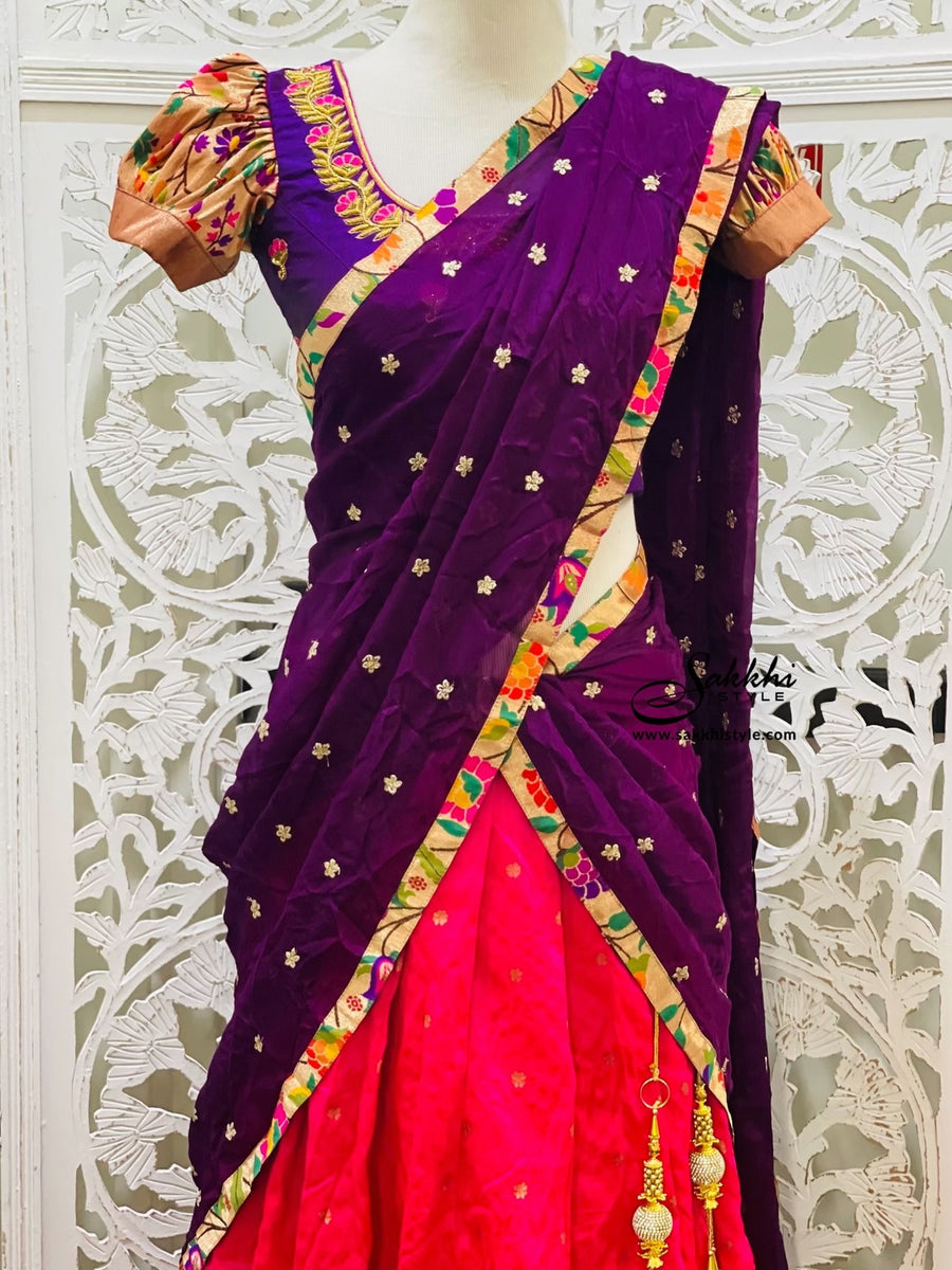 Purple and Pink Paithani Lehenga Choli