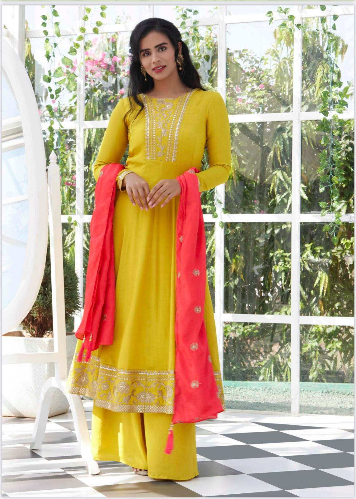 Lemon Yellow and Pink Palazzo Suit