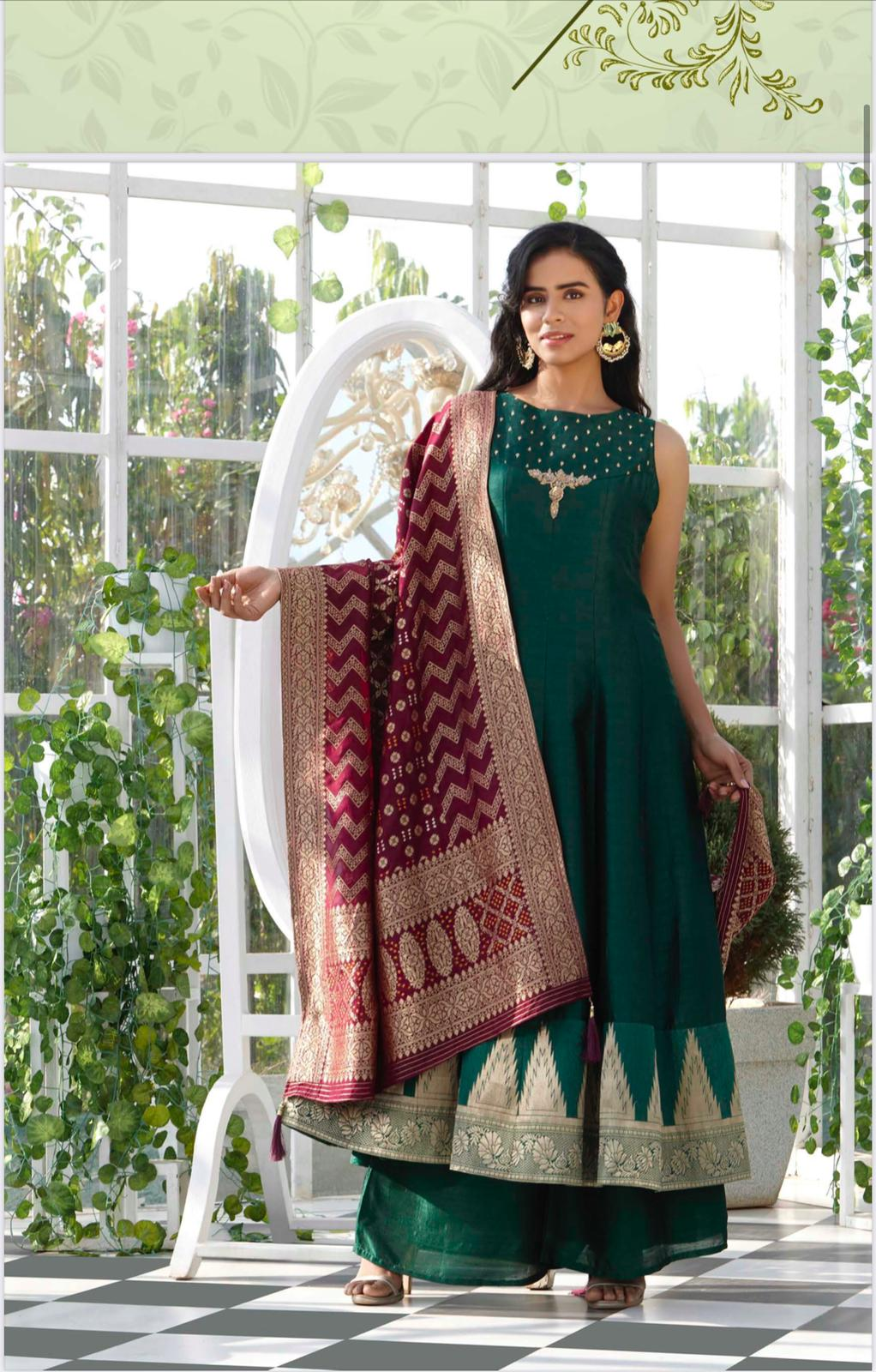 Green and Burgundy Palazzo Suit