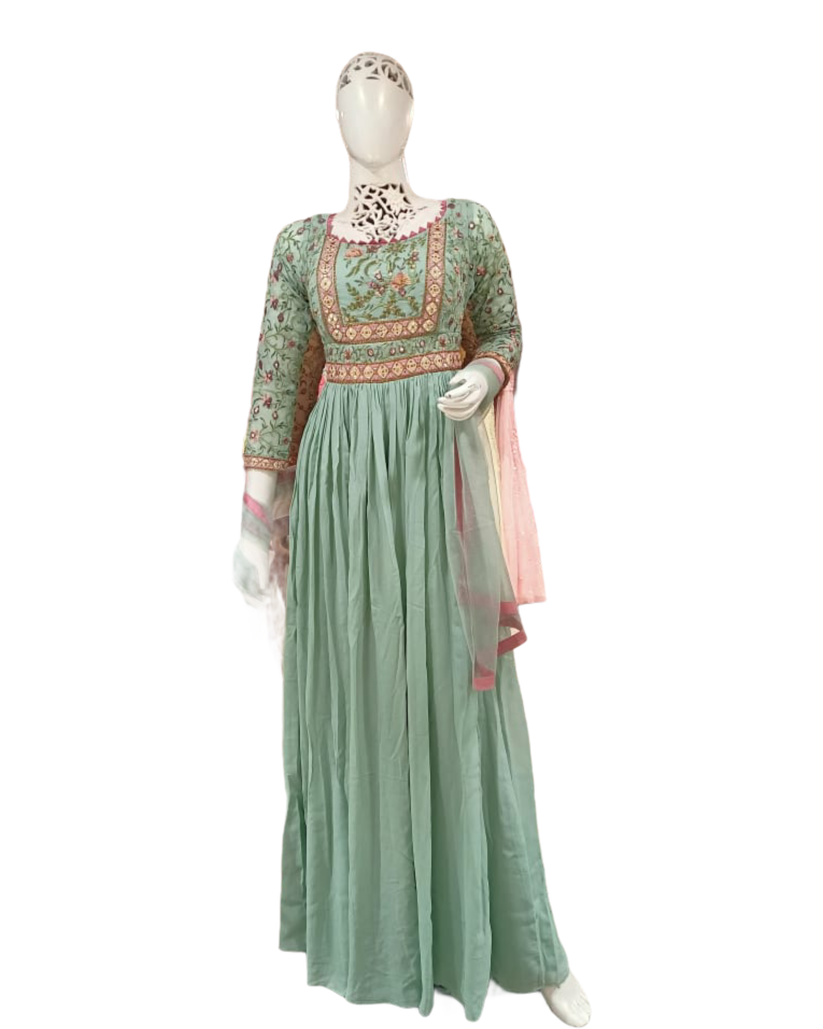 Pastel Green Embroidered Anarkali Gown