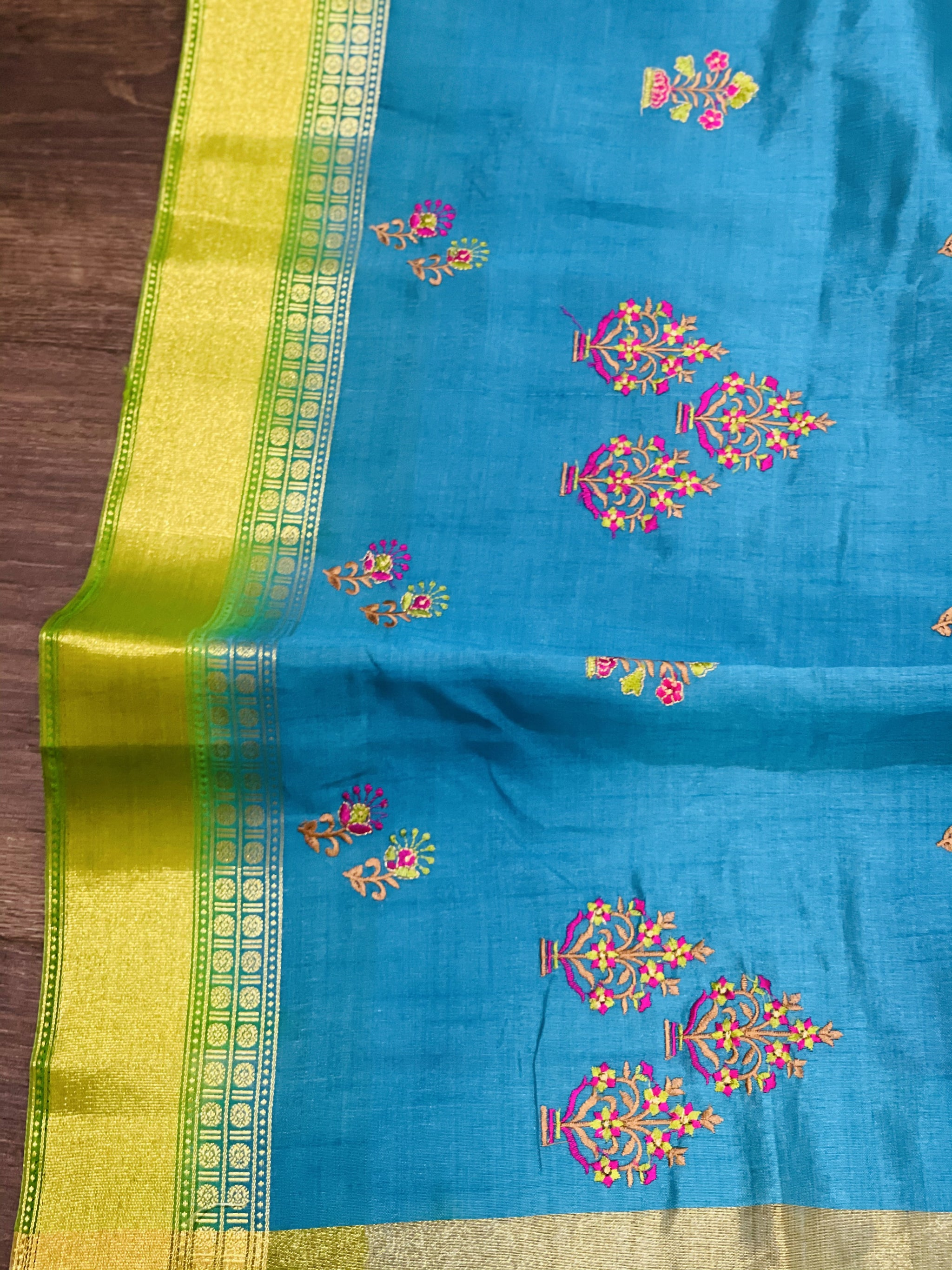 Blue and Green Dupion Silk Saree