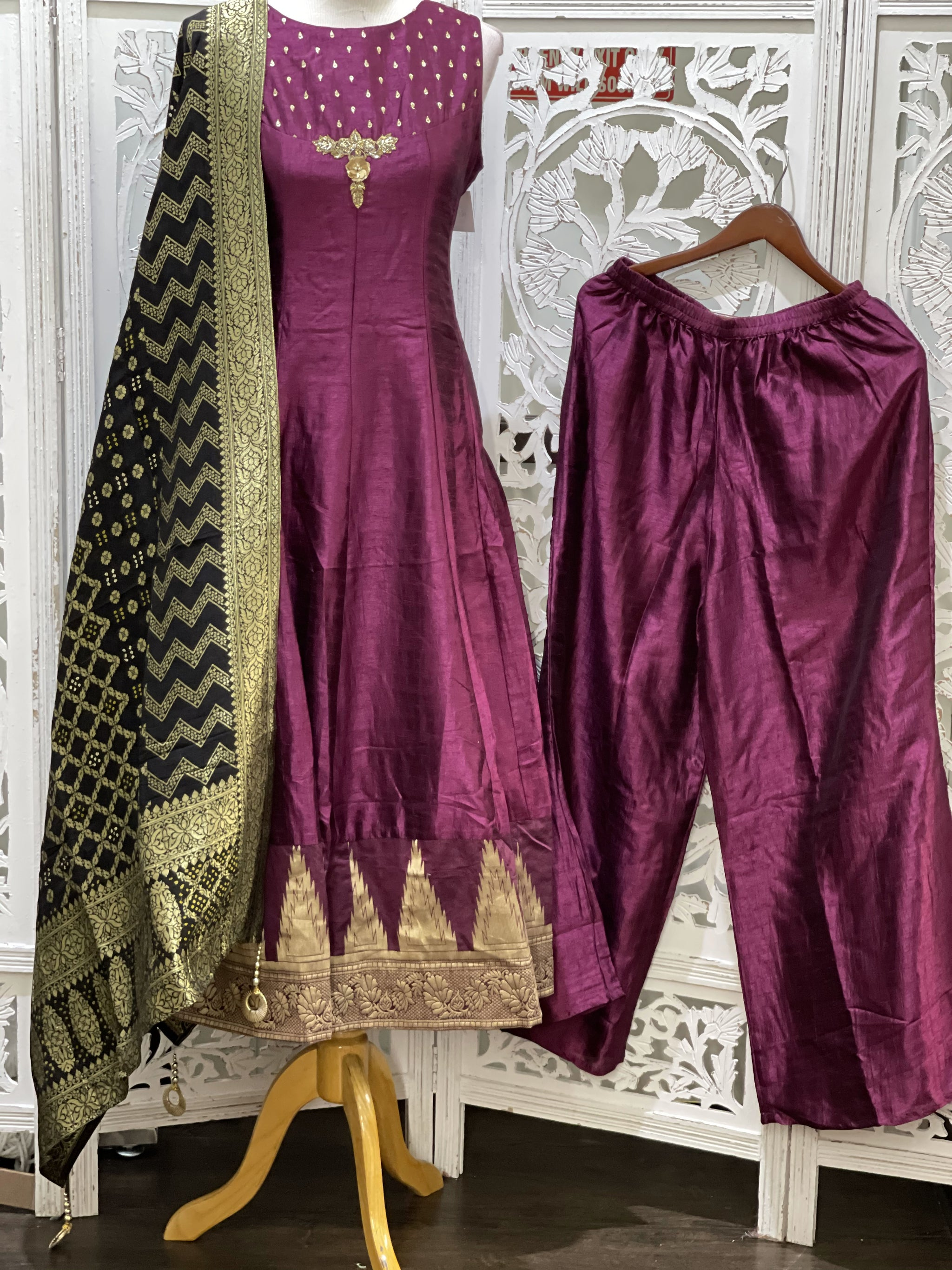 Burgundy and Black Palazzo Suit
