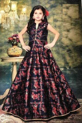Navy Blue and Red Gown