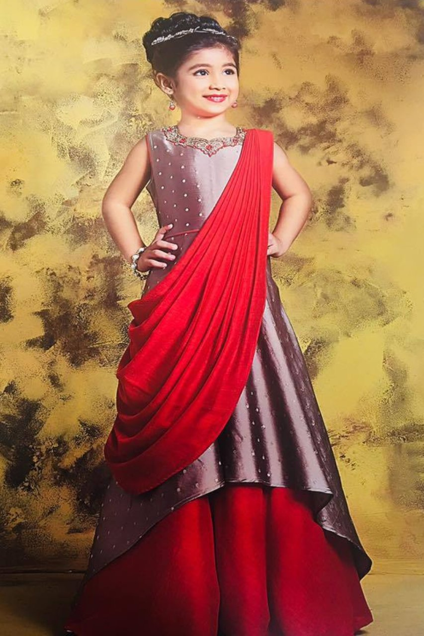 Ivory and Red Gown - Sakkhi Style