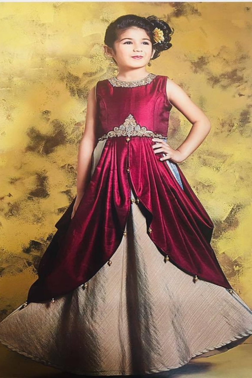 Maroon and Ivory Gown - Sakkhi Style