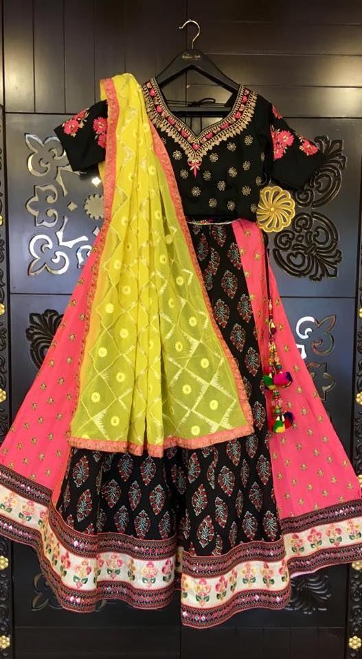 Black and Pink Lehenga Choli - Sakkhi Style