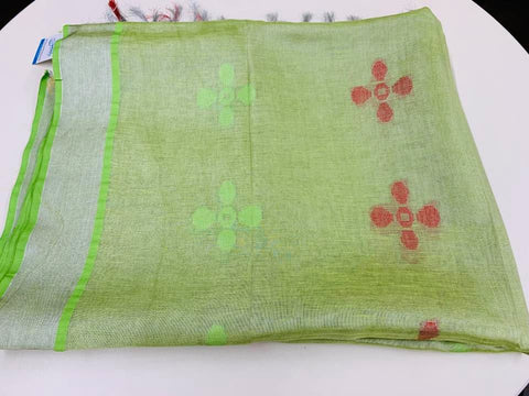 Green and Red Tissue Linen Saree