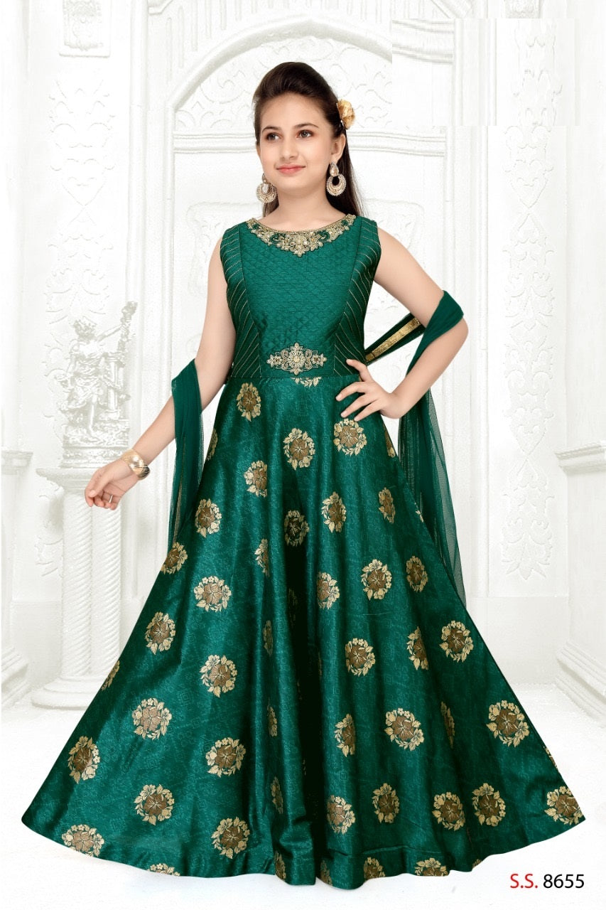 Green and Gold Anarkali Suit