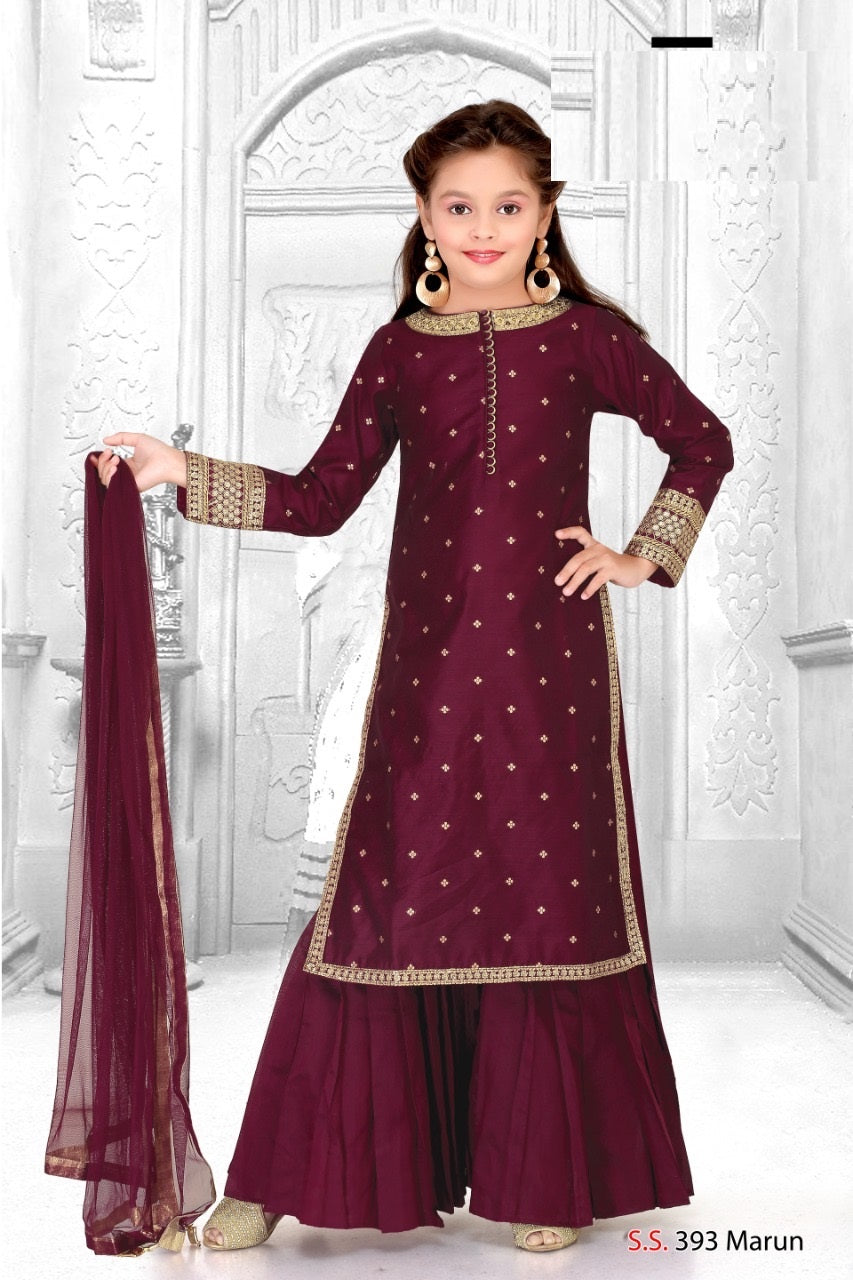 Burgundy Gharara Suit